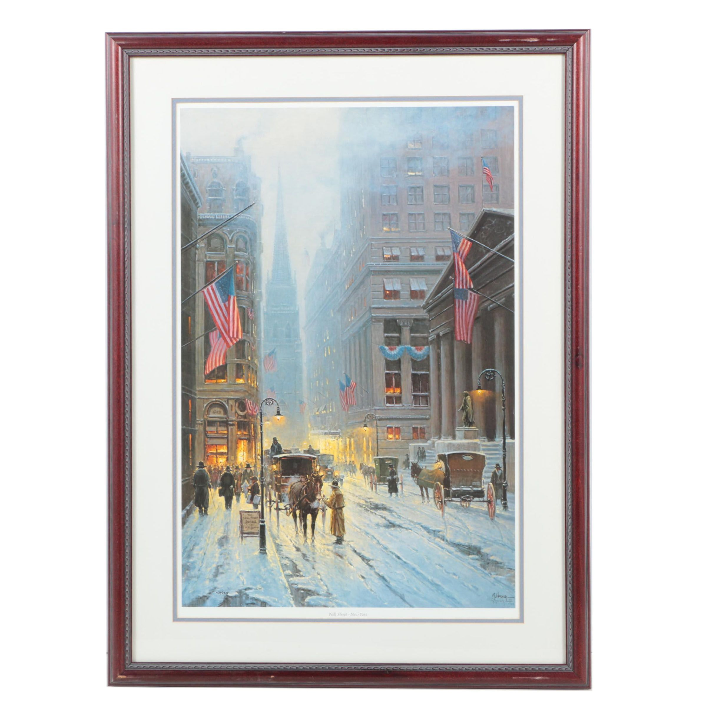 """G. Harvey Limited Edition Offset Lithograph """"Wall Street - New York"""""""