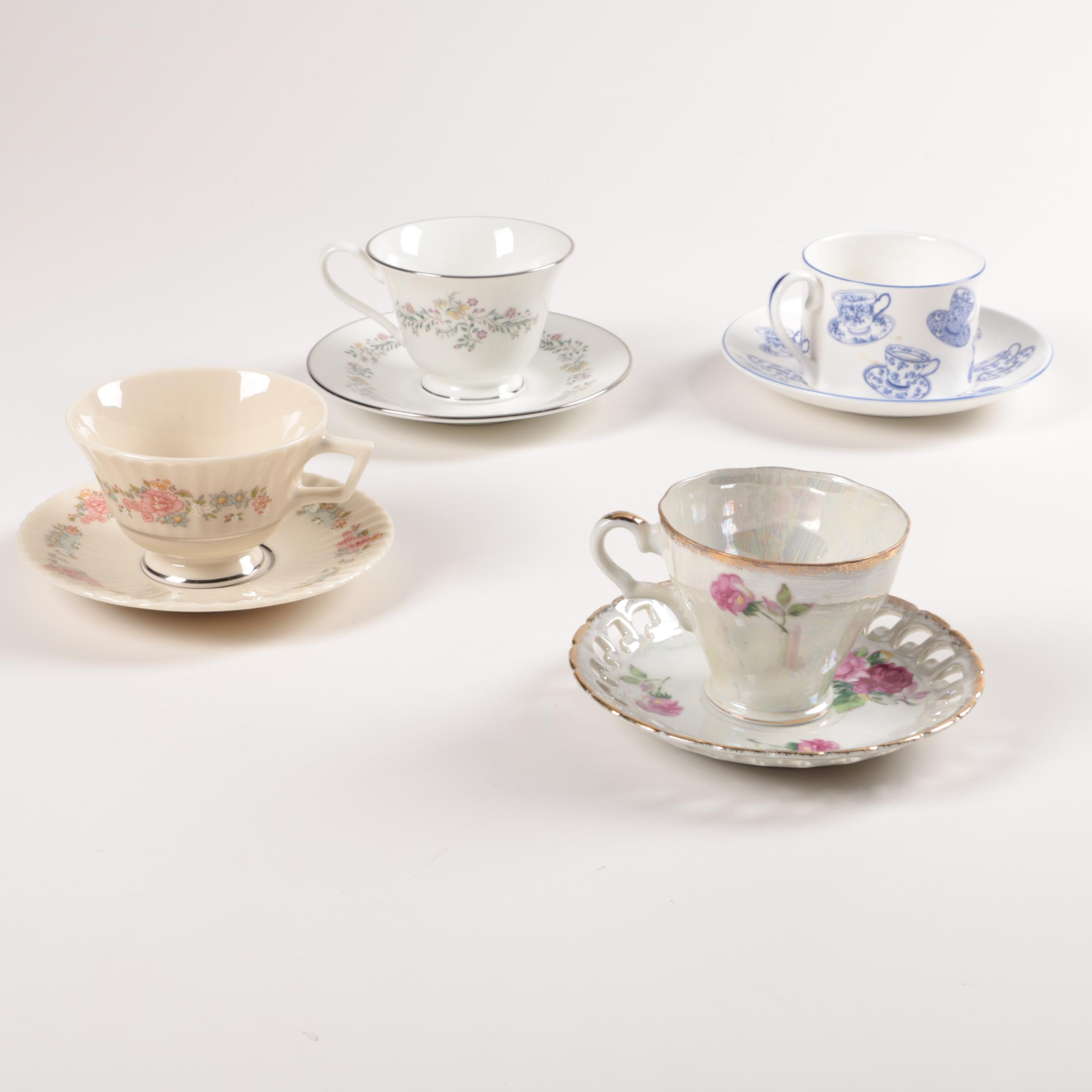 Porcelain Teacups and Saucers Including Lenox