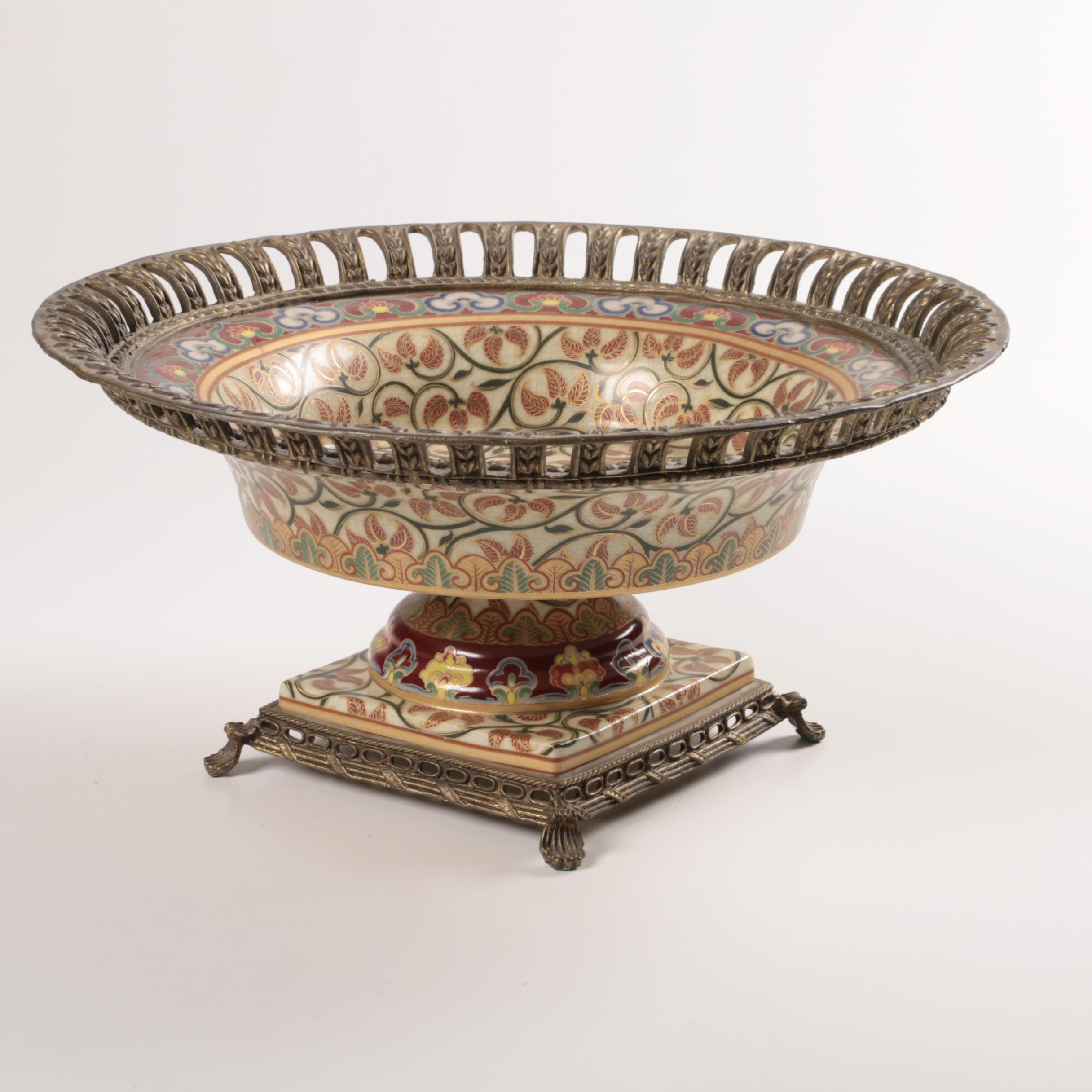 Chinese Decorative Ceramic and Brass Tone Pedestal Bowl
