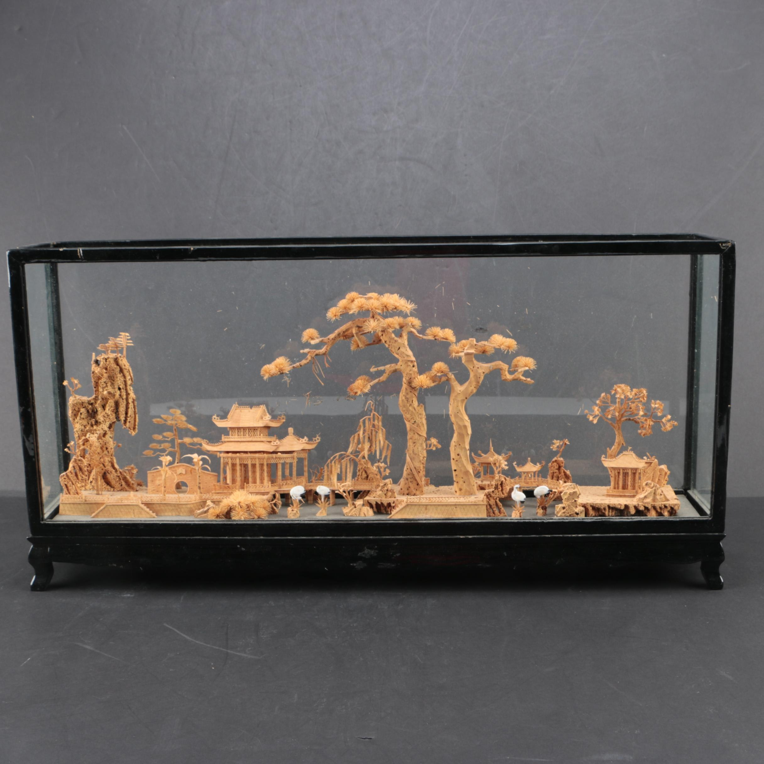 Vintage Chinese Carved Cork Landscape