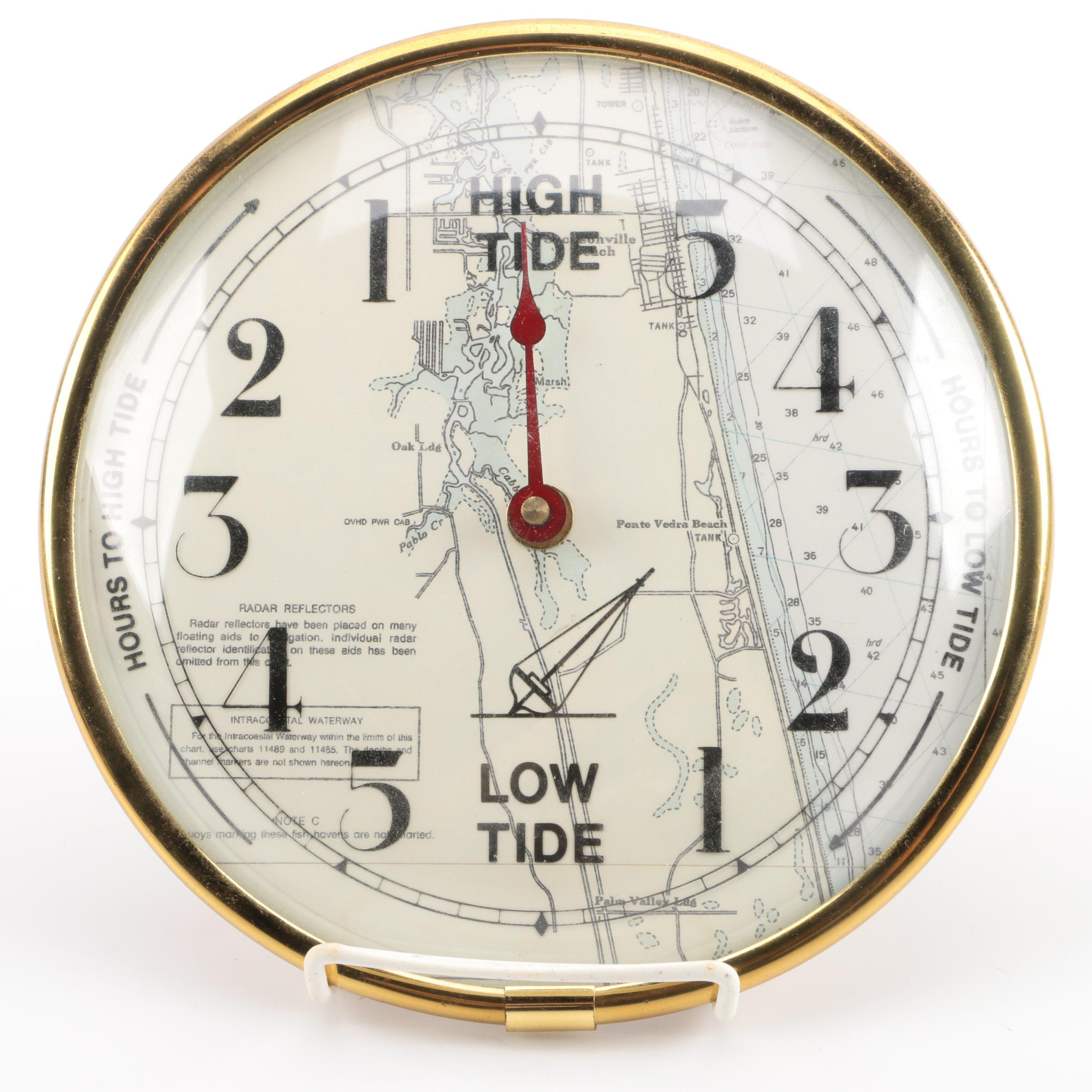 Wall Mounted Tide Clock In Brass Tone Frame