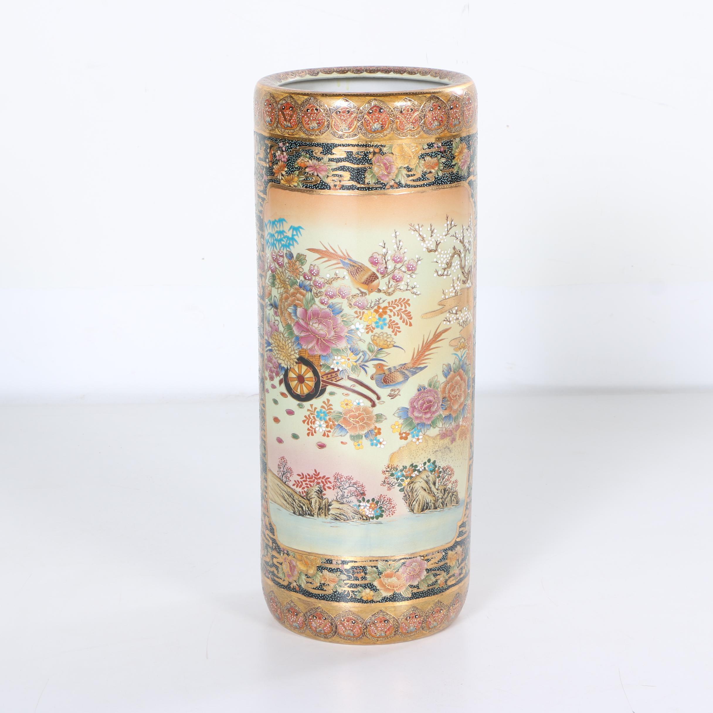 Chinese Satsuma Style Ceramic Umbrella Holder