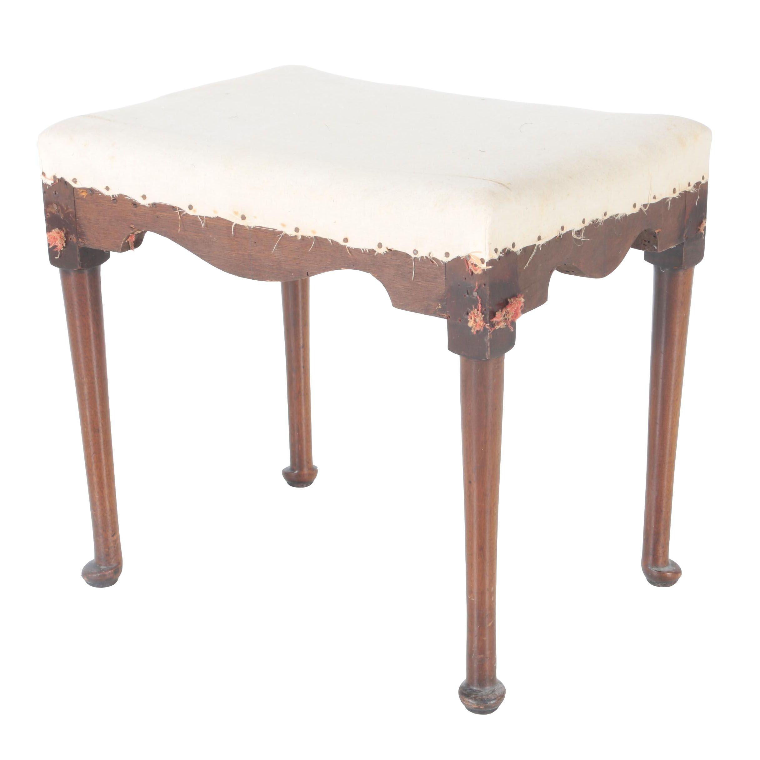 Vintage Mahogany Upholstered Footstool