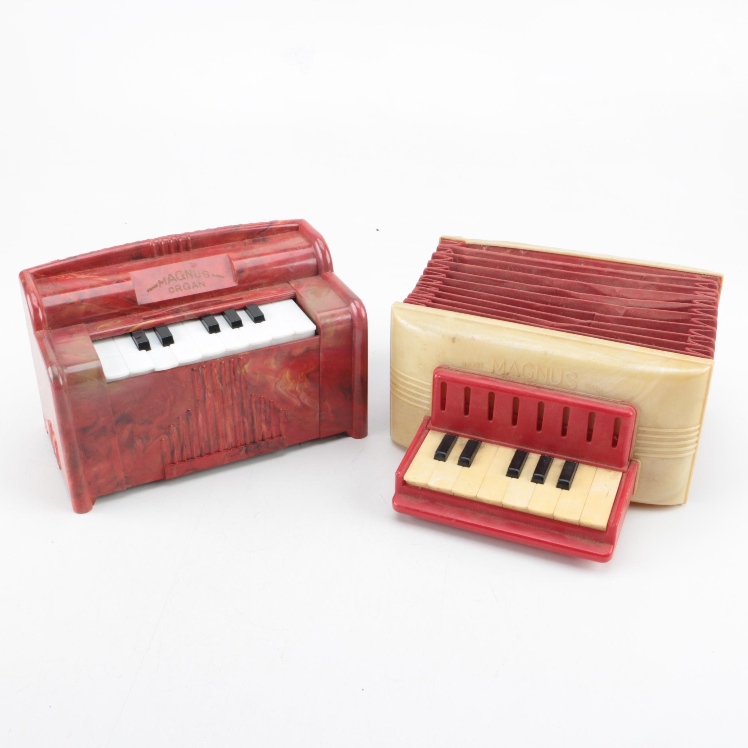 Vintage Magnus Super Blow Organ and Toy Accordion