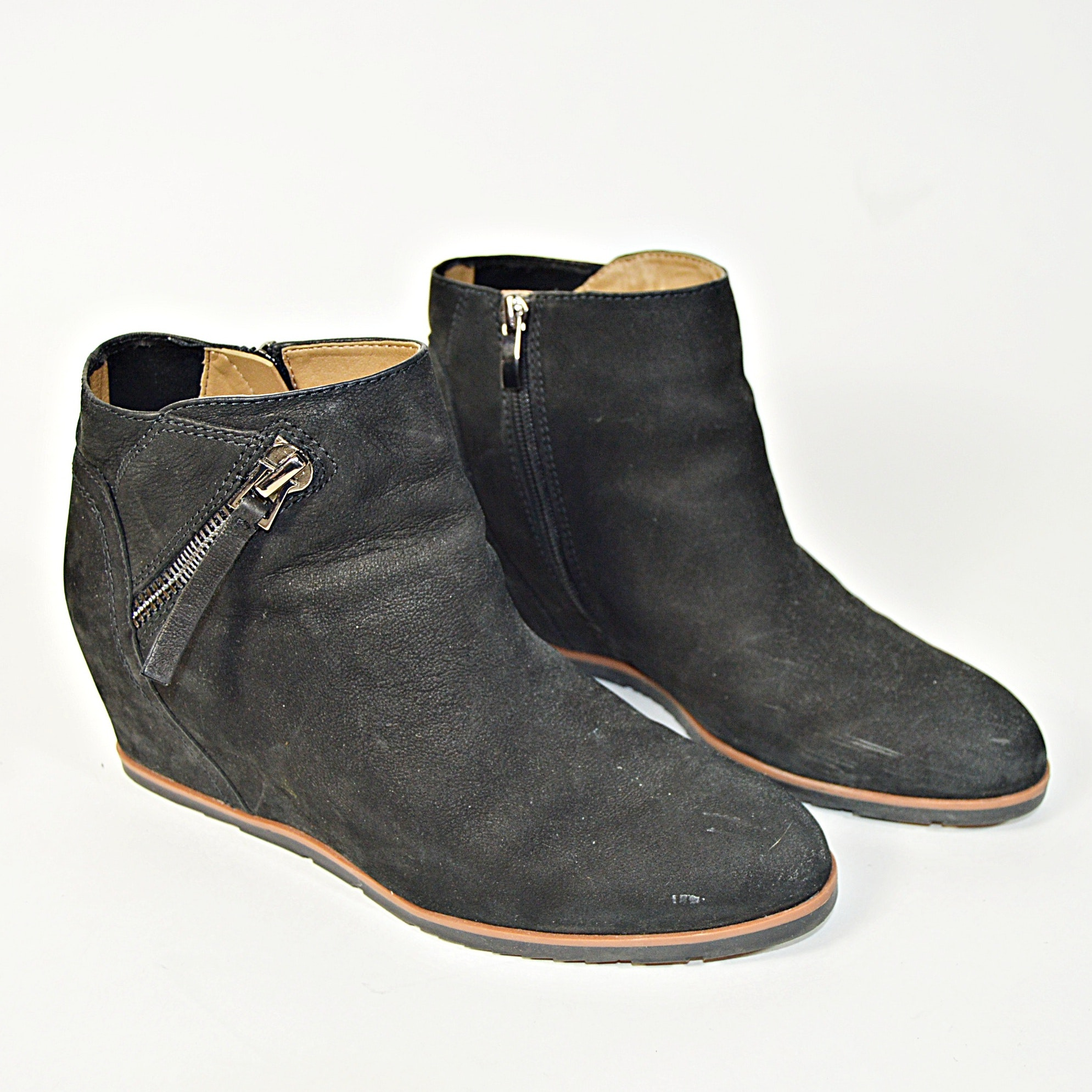 Franco Sarto Black Suede Leather Boots, 9.5M