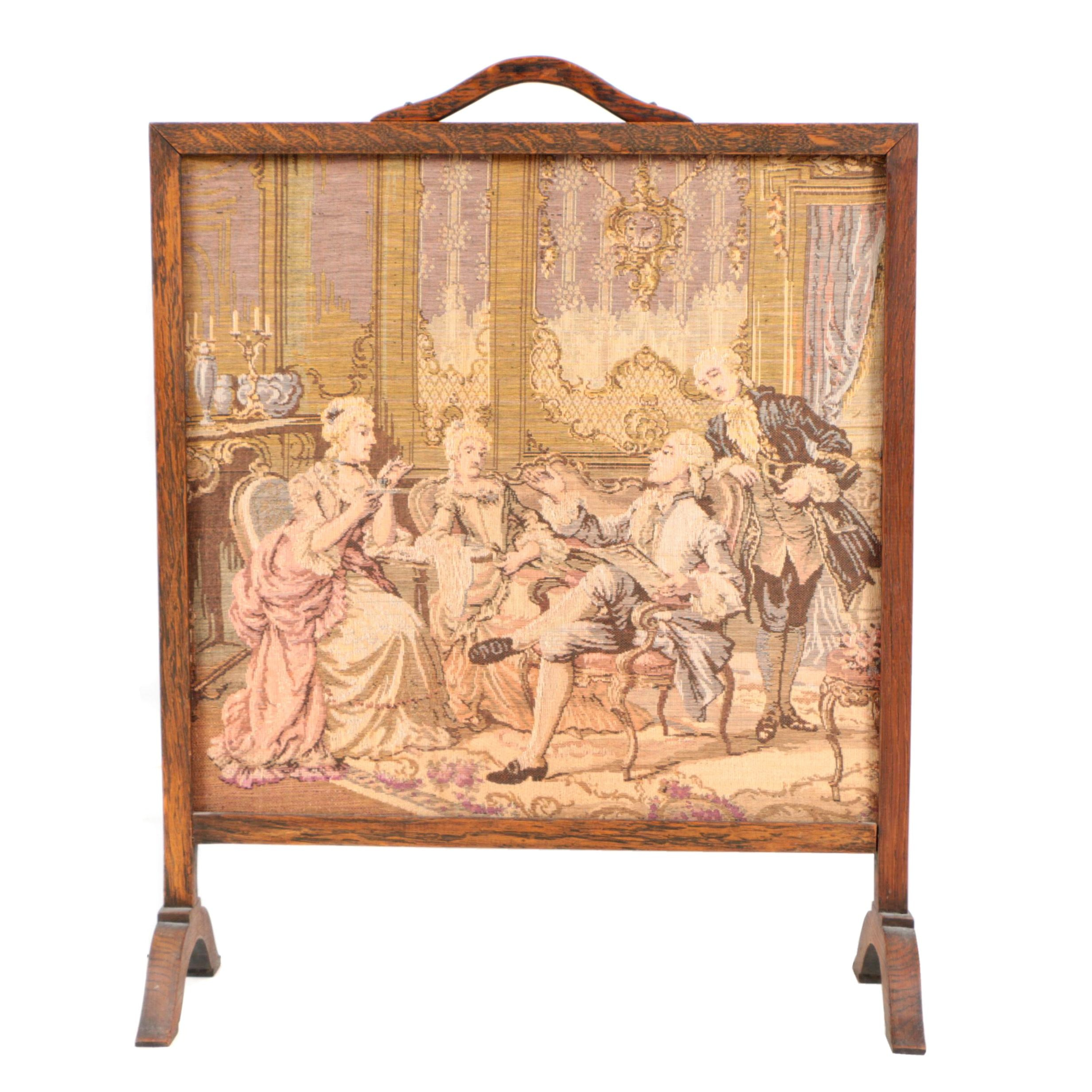 Machine-Woven Tapestry in a Fire Screen