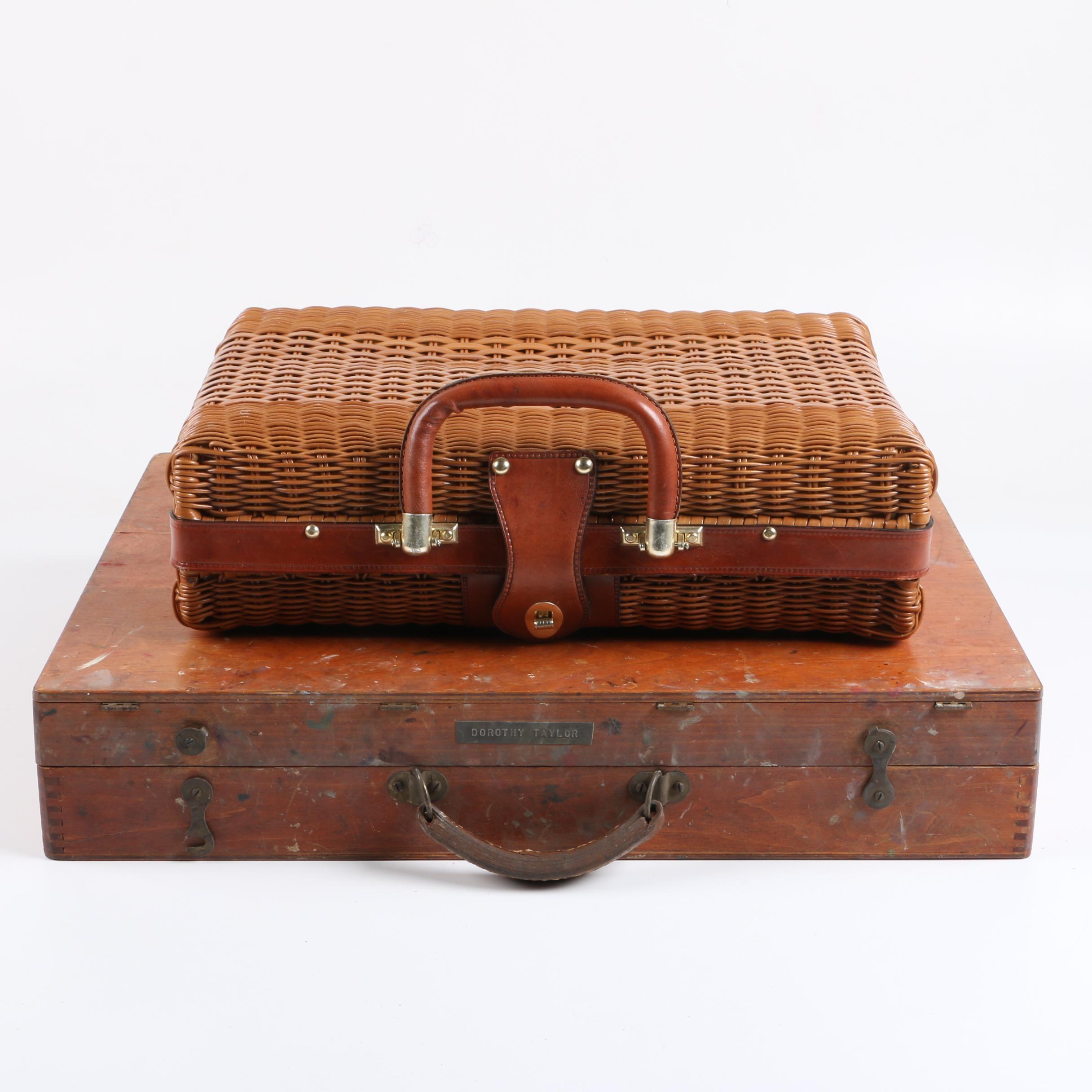 Artist's Vintage Portable Paint Box and Handmade Basket Handbag