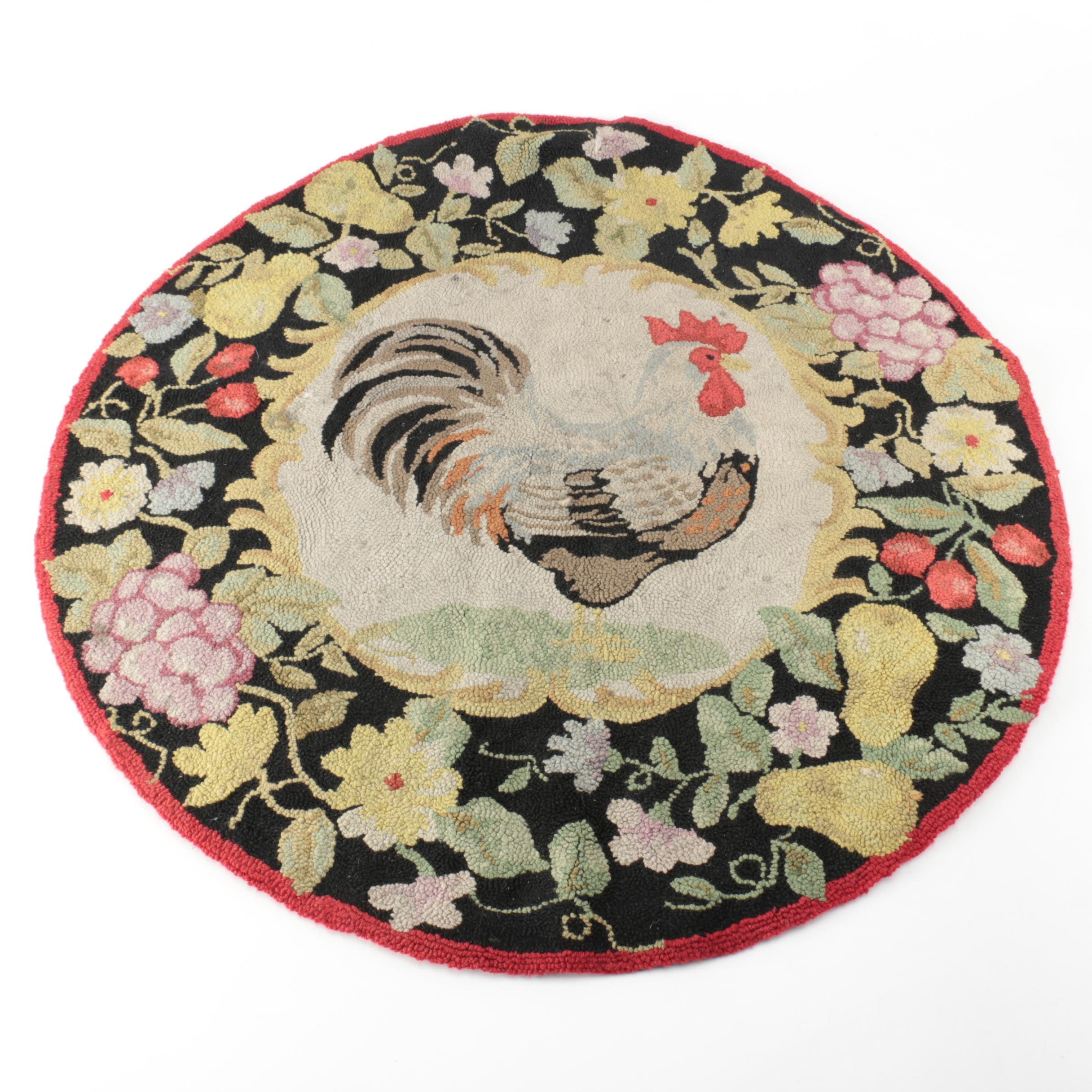 Hooked Rooster and Fruit Themed Round Wool Rug