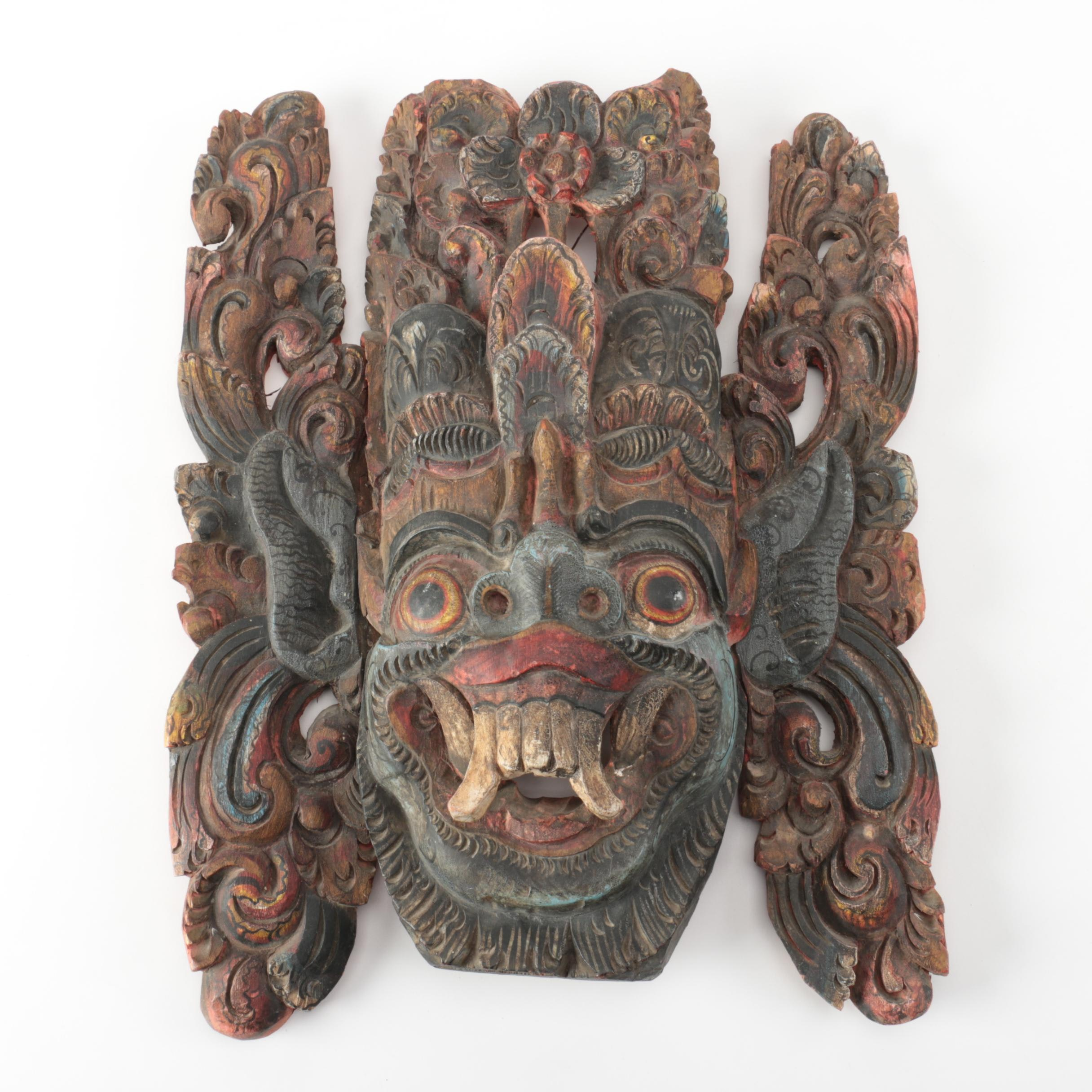 Balinese Carved Wood Mask of Hanuman