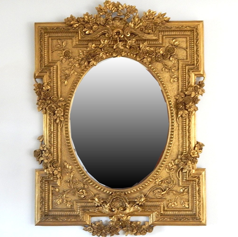 Large Baroque Styled Oval Mirror