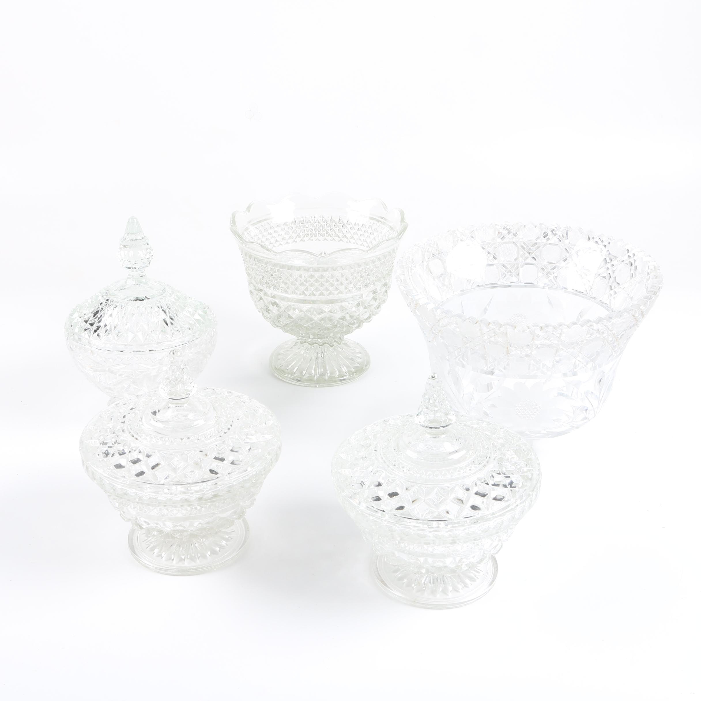 "Anchor Hocking  ""Wexford"" Crystal Bowl and Bon Bon Dishes"