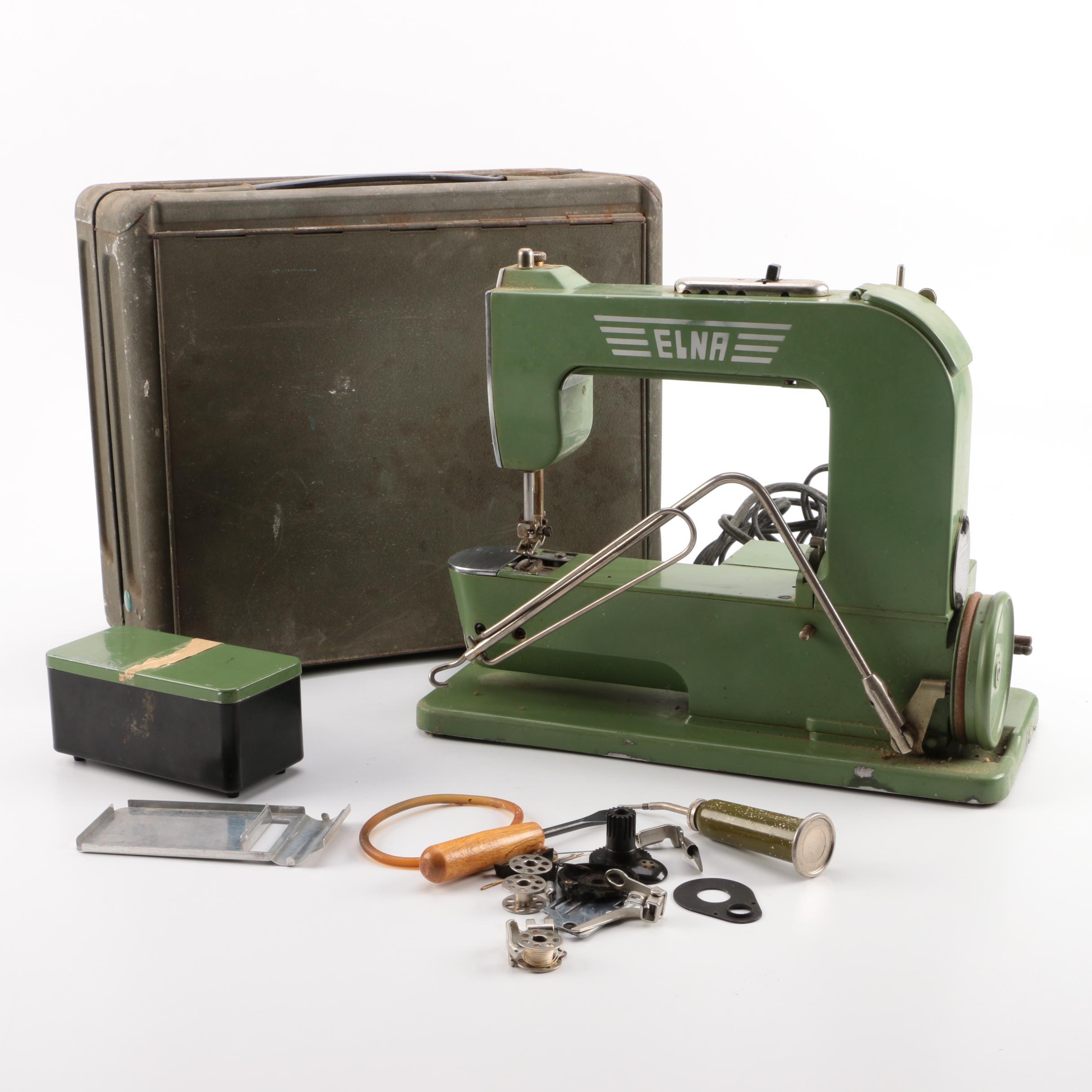 """Vintage Mid-Century Swiss Elna """"Grasshopper"""" Sewing Machine"""