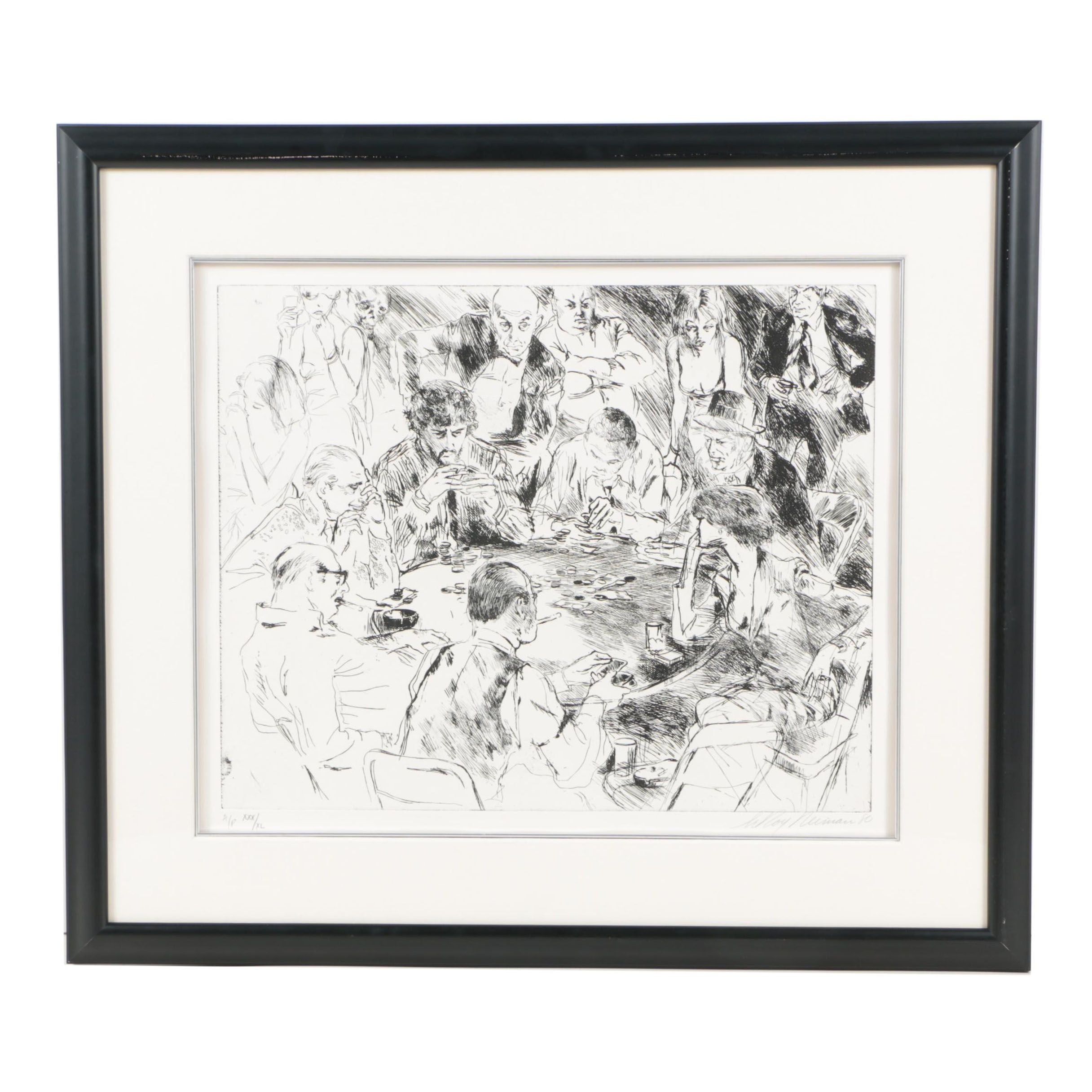 "LeRoy Neiman Limited Edition Artist's Proof Etching on Paper ""Stud Poker"""