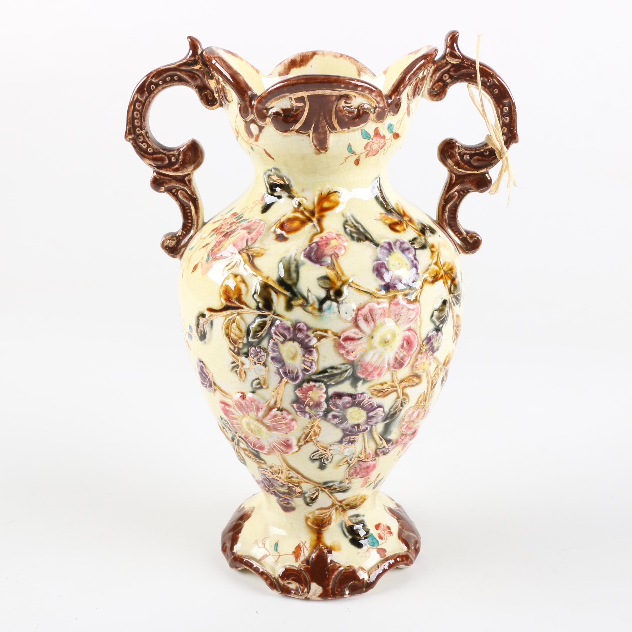 English Majolica Pottery Vase