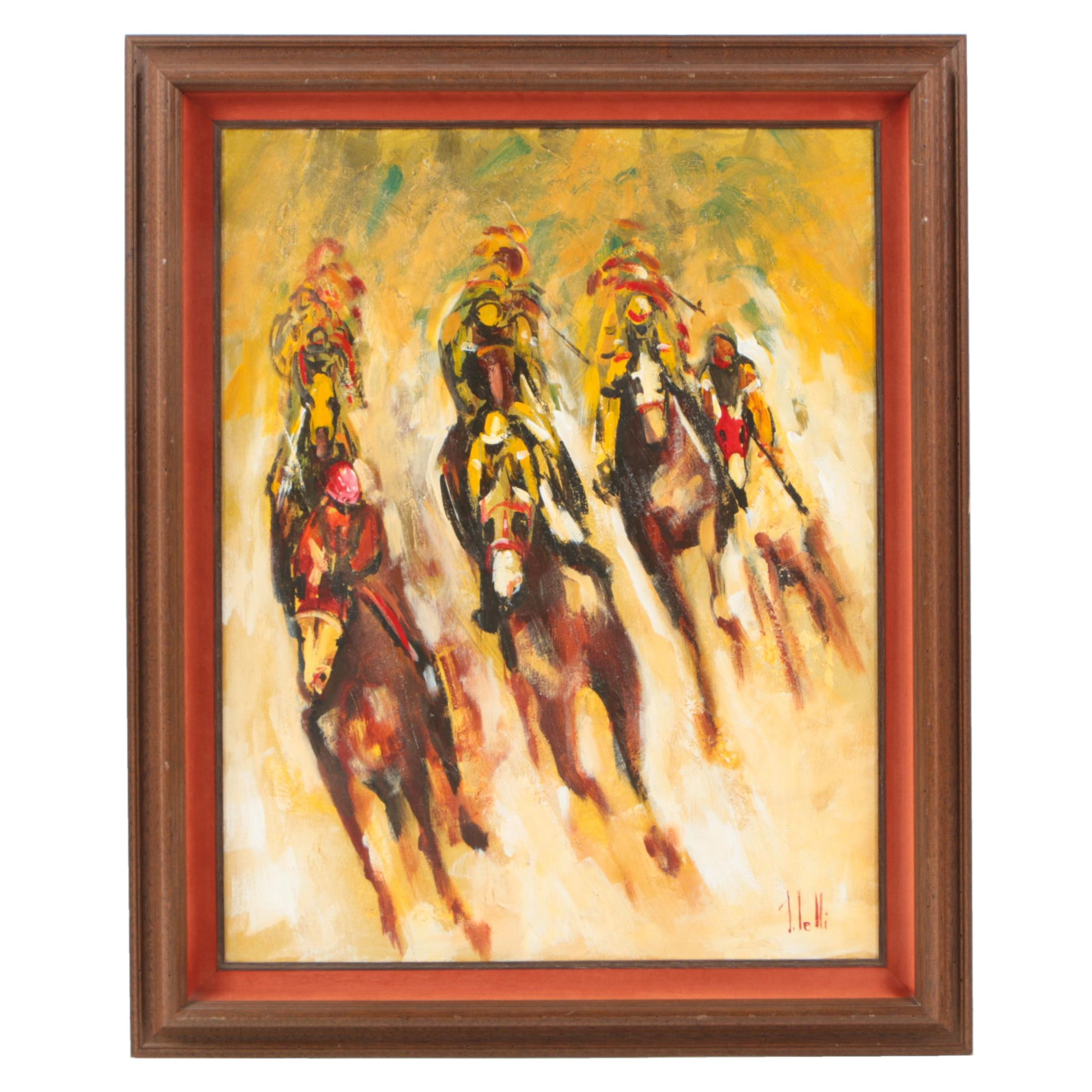 Lelli Oil Painting on Canvas of Horse Racing Scene