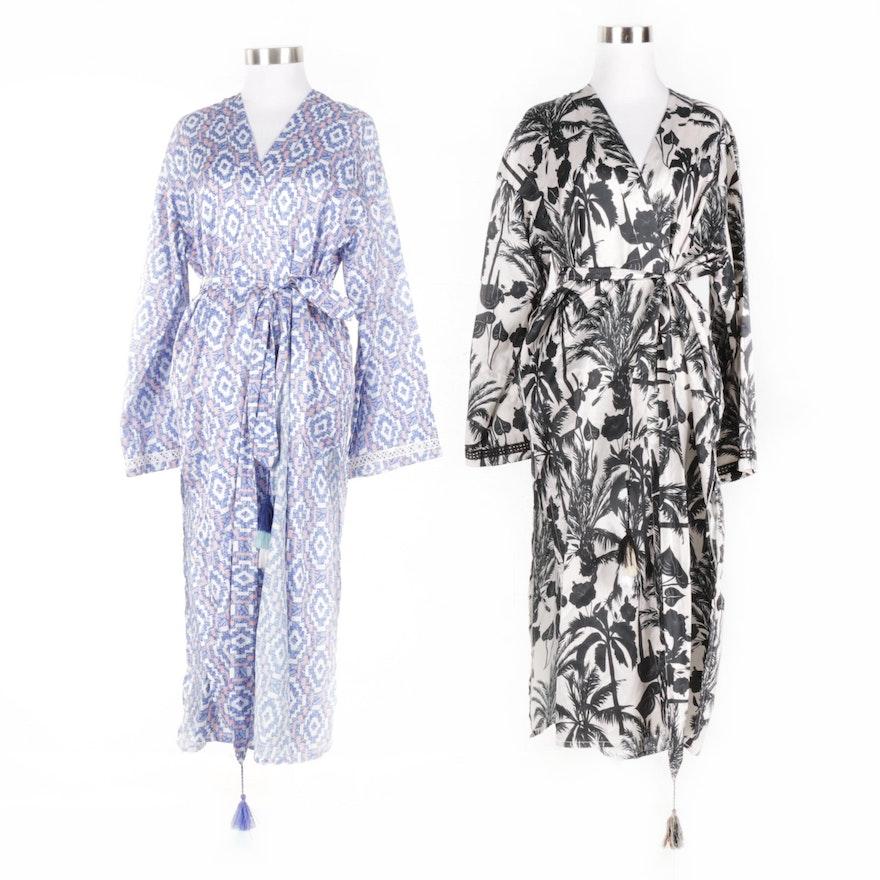 Louvelle Printed Cotton Silk Robes   EBTH 044332fbe