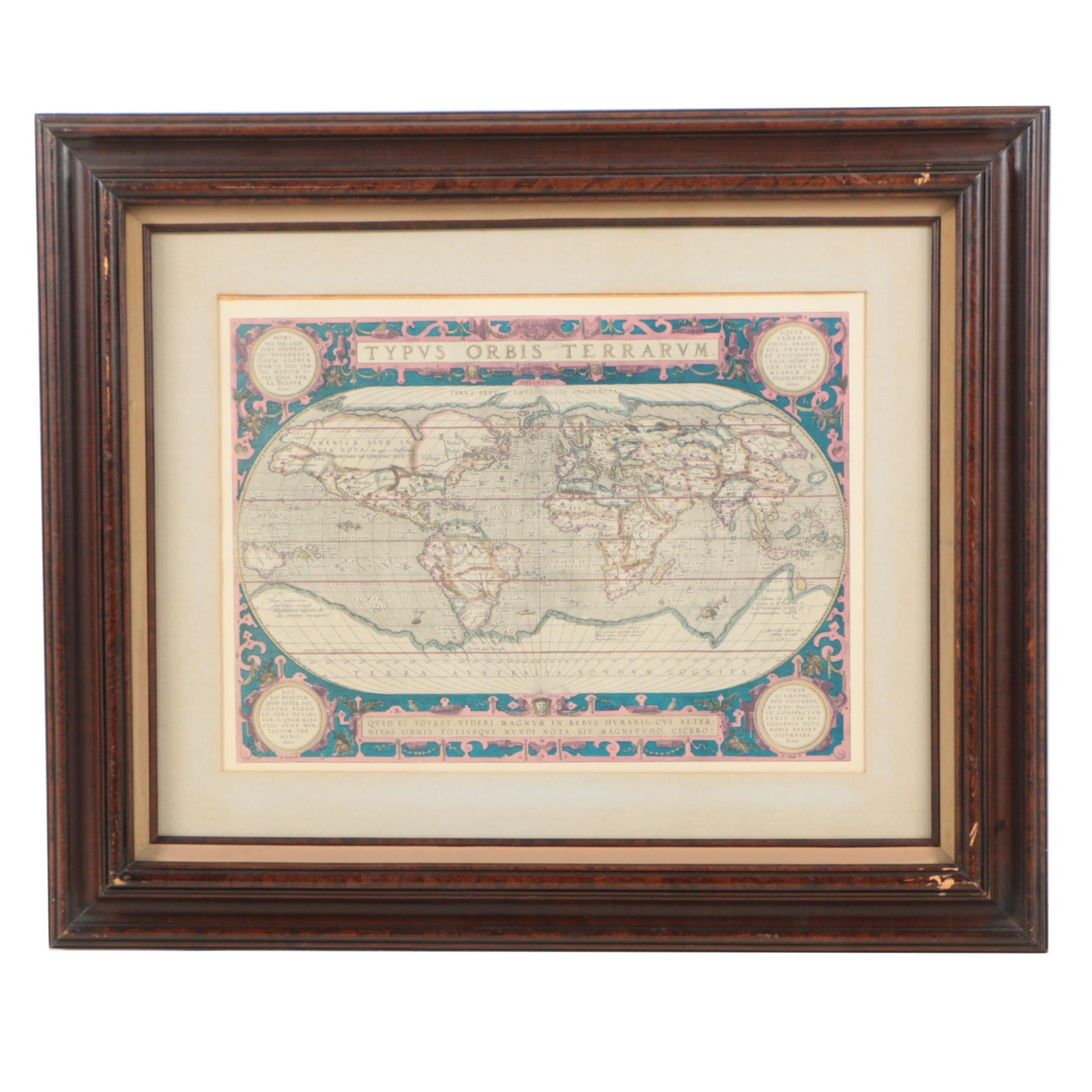 """World Map Engraving After Ortelius's """"Typus Orbis Terrarum"""""""