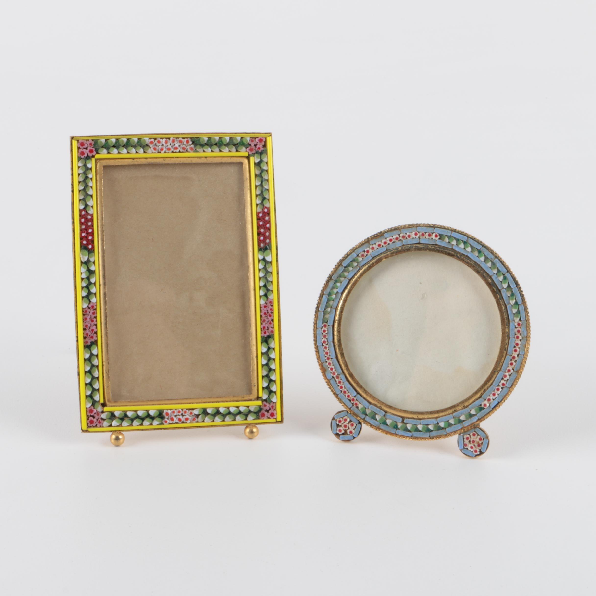 Pair of Italian Micro-Mosaic Miniature Picture Frames