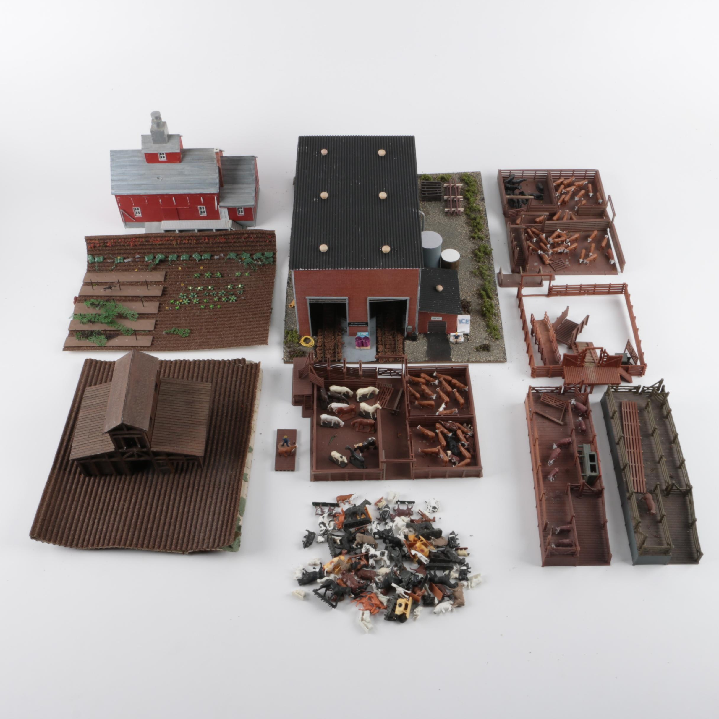 Collection of Rural Buildings and Livestock for Model Railroads
