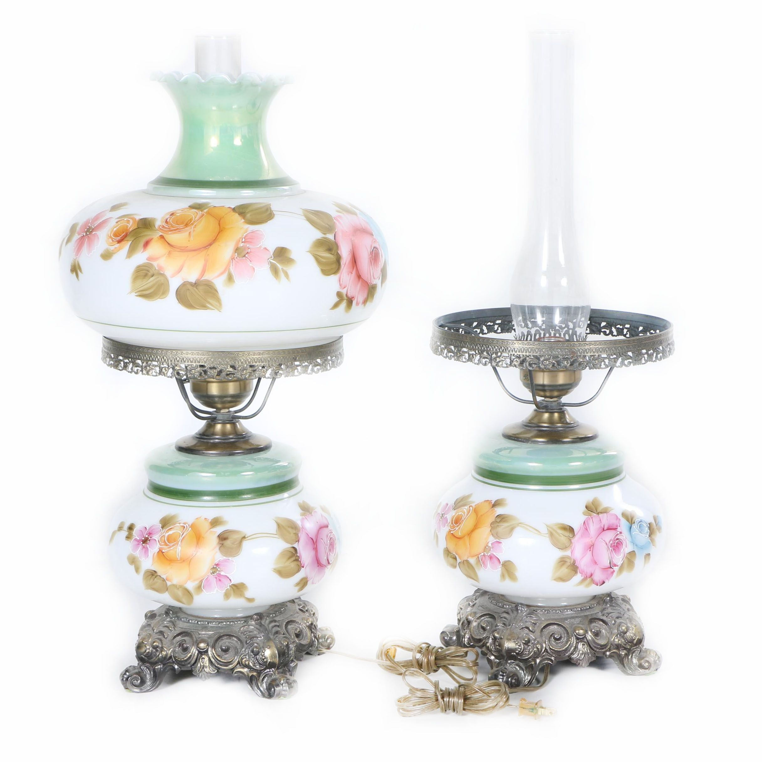 Hand-Painted Vintage Parlor Lamps