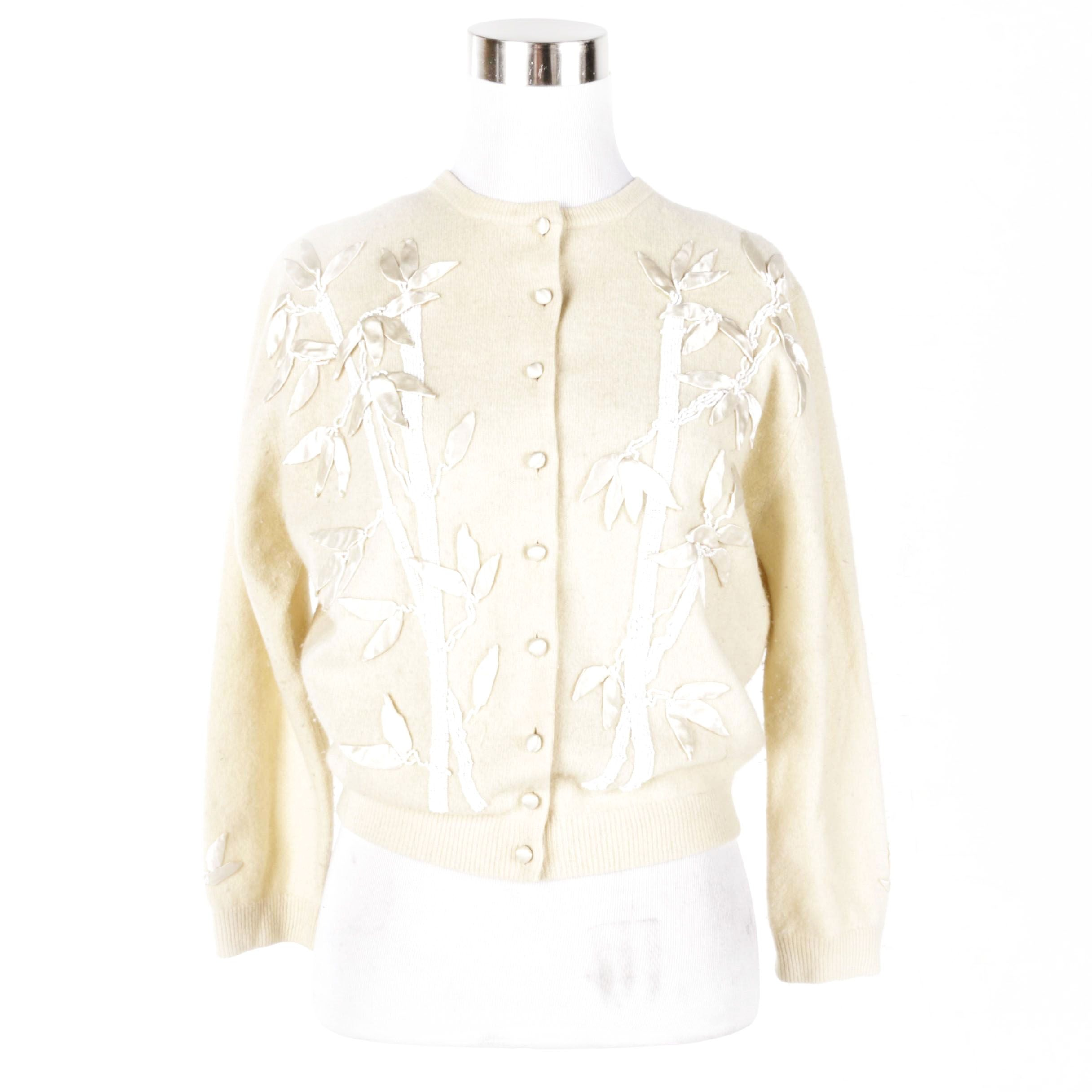 Women's Vintage Beaded and Satin Adorned Cardigan by Young Blum's-Vogue Shop