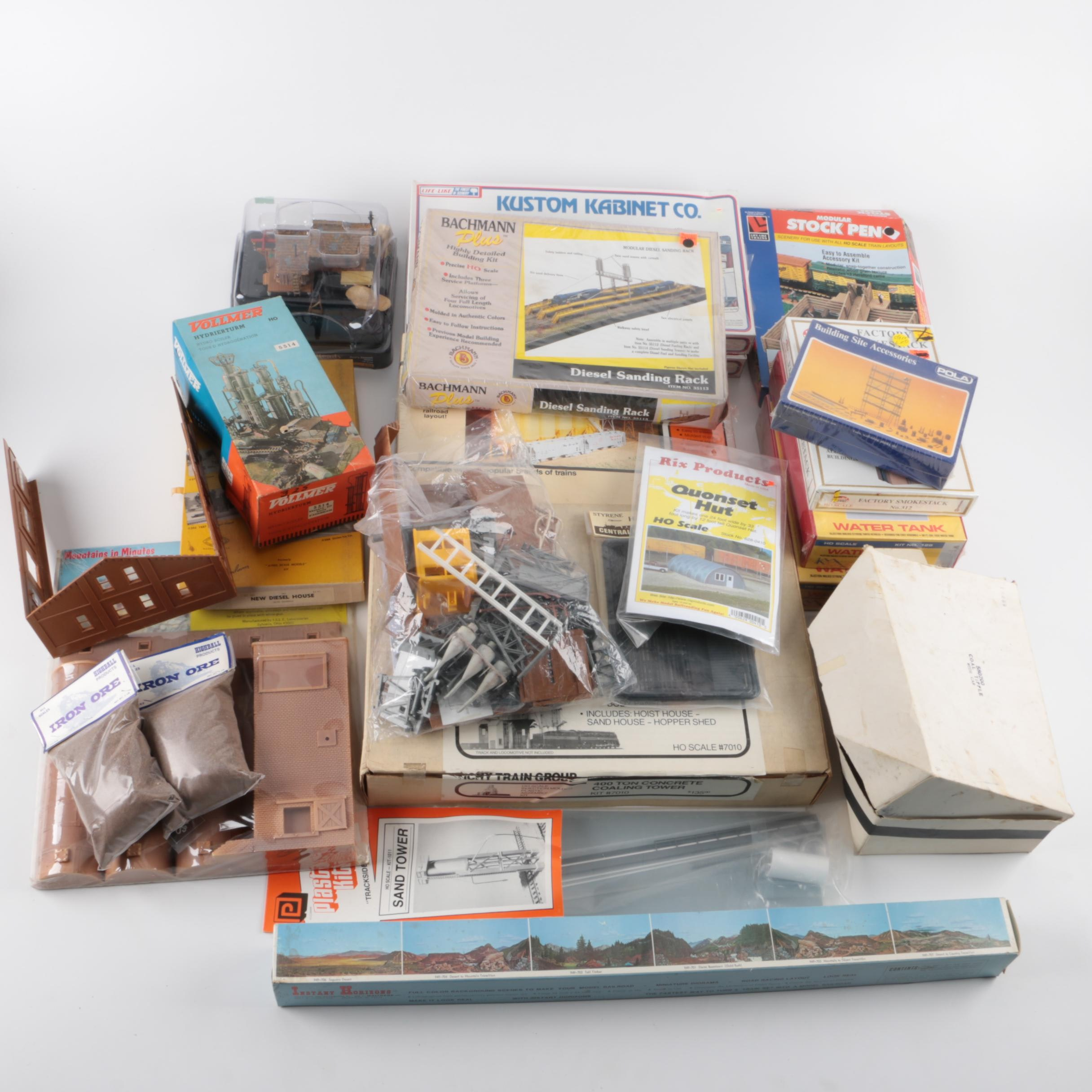Assortment of Kits for Model Railroad Buildings and Scenes