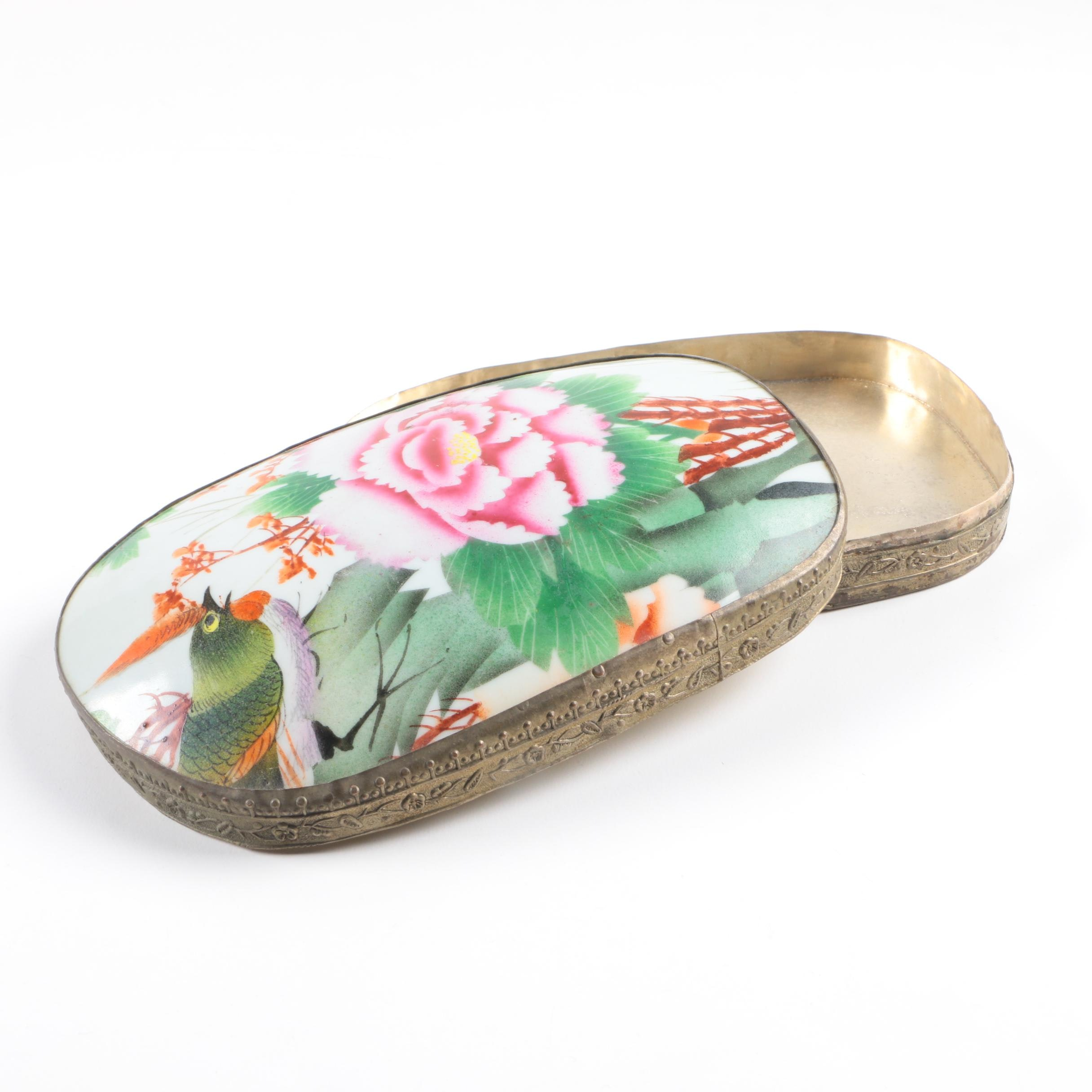 Vintage Hand Painted Asian Porcelain and Metal Box