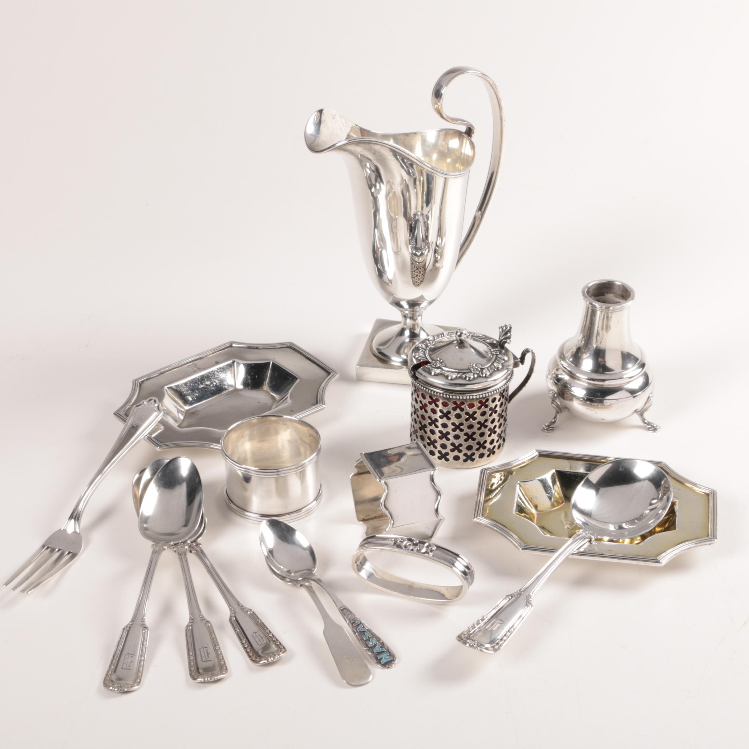 1796 British London Sterling Dishes with Other Sterling Flatware and Tableware