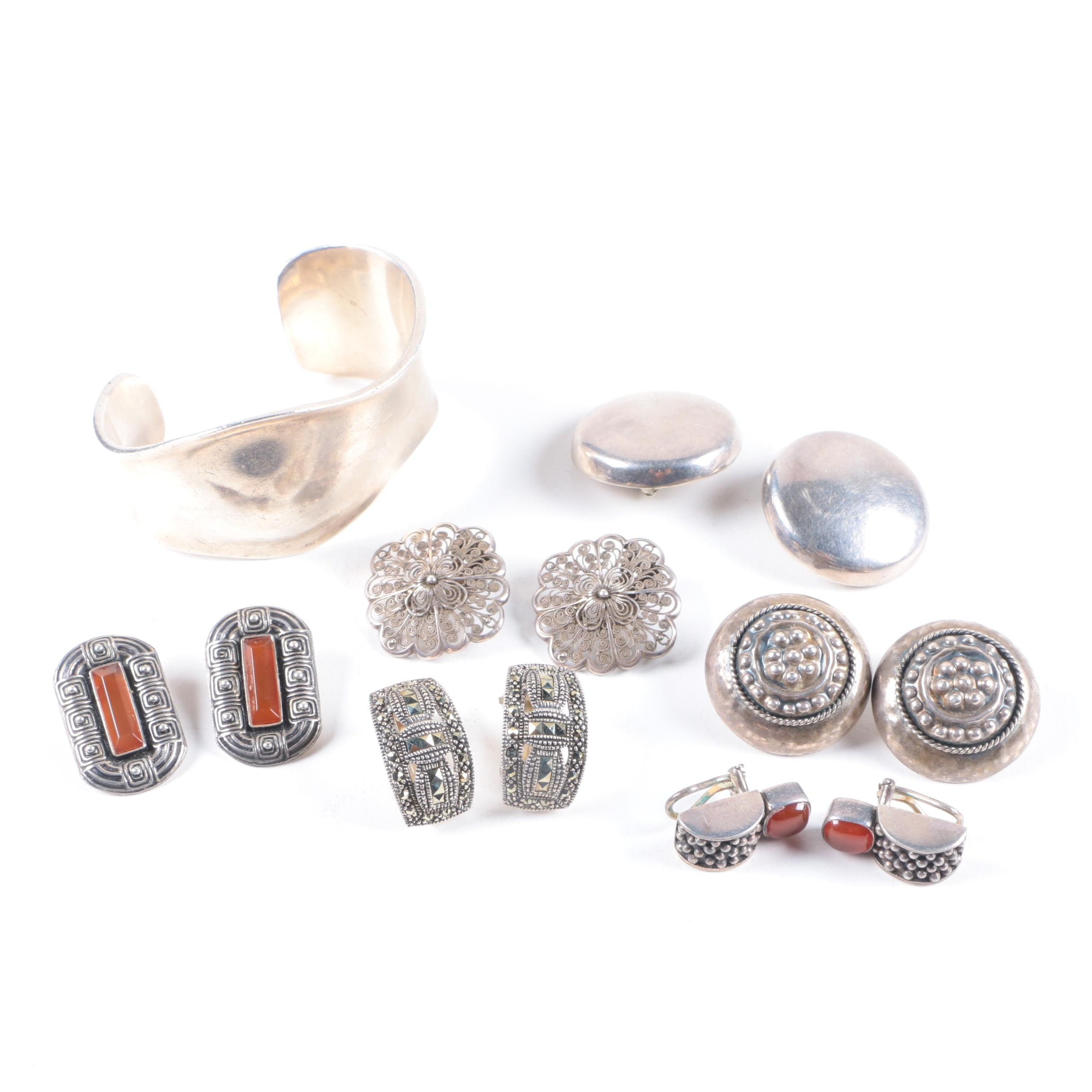 Assortment of Sterling Silver Clip-On Earrings and Cuff