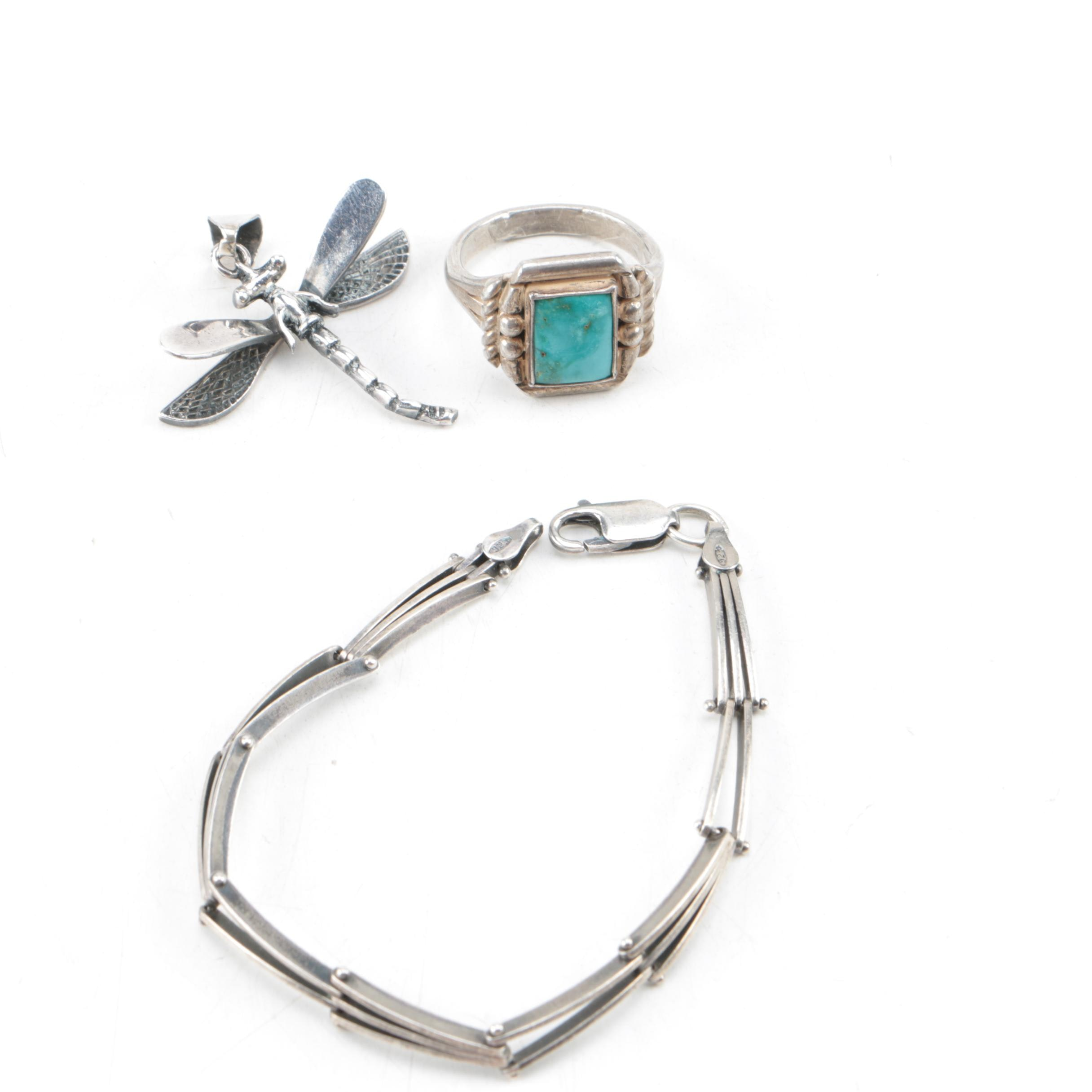 Selection of Sterling Silver Jewelry Including Turquoise