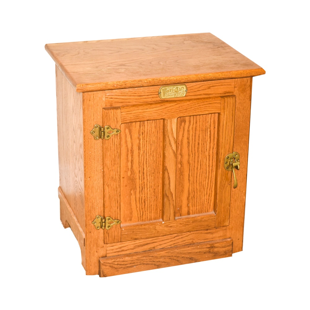 Captivating Vintage Oak Reproduction Ice Box By White Clad ...