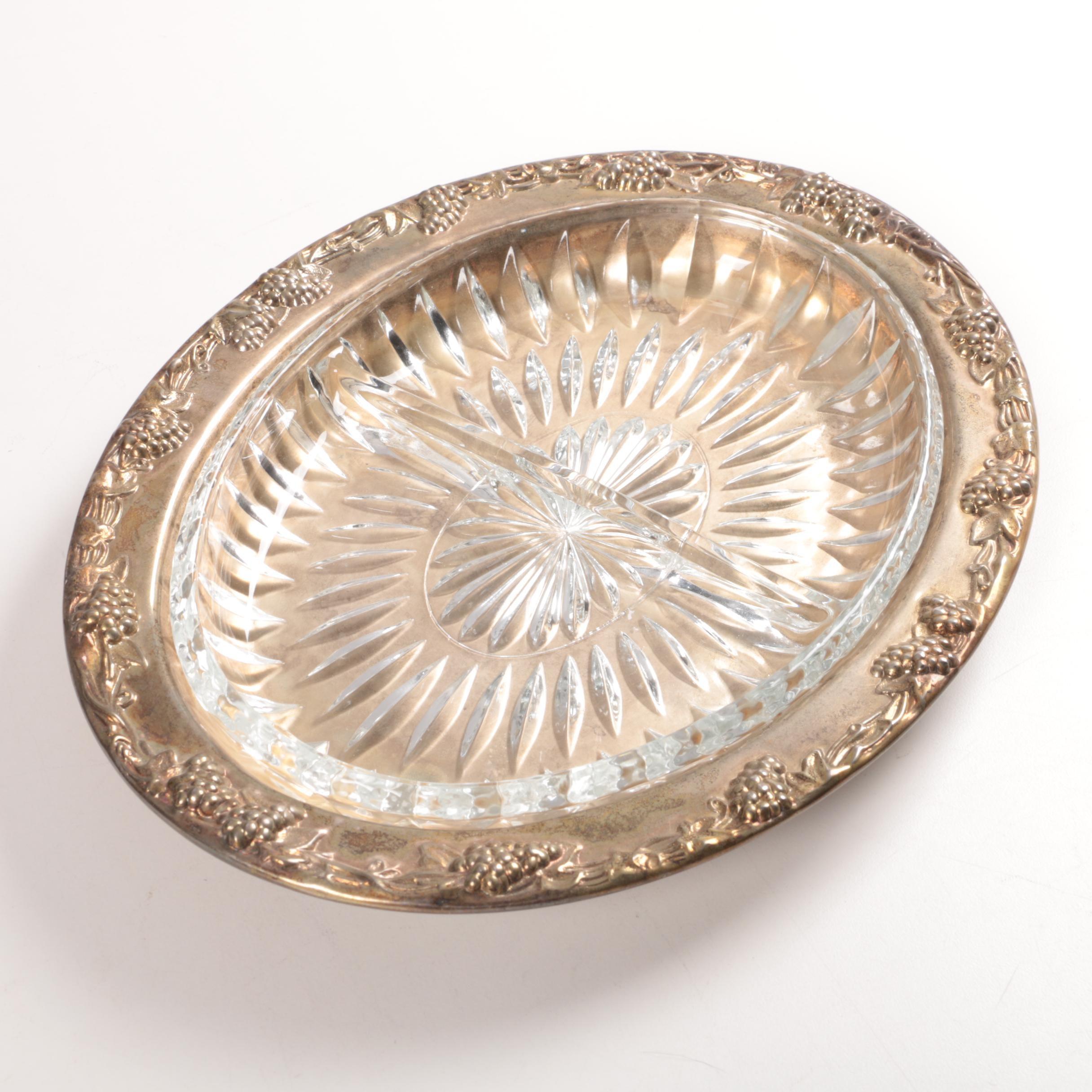 "Sheridan Taunton Silversmiths Ltd. ""Vintage"" Serving Dish with Cut Glass Insert"