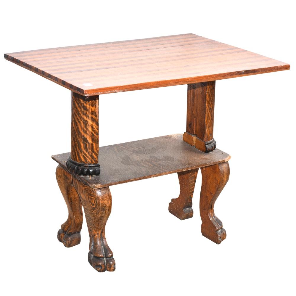 Vintage Victorian Style Oak Side Table