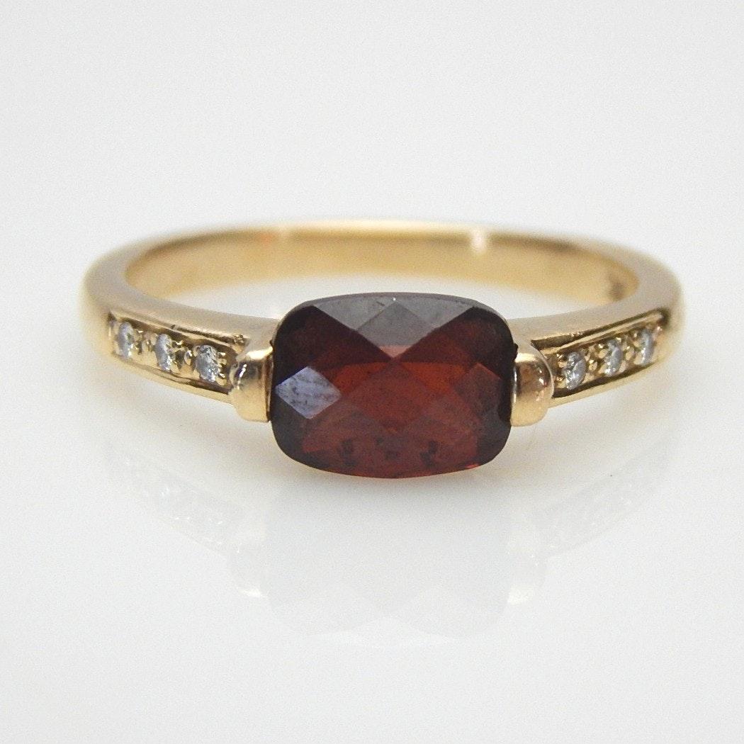 14K Rose Gold Garnet and Diamond Art Deco Inspired Ring