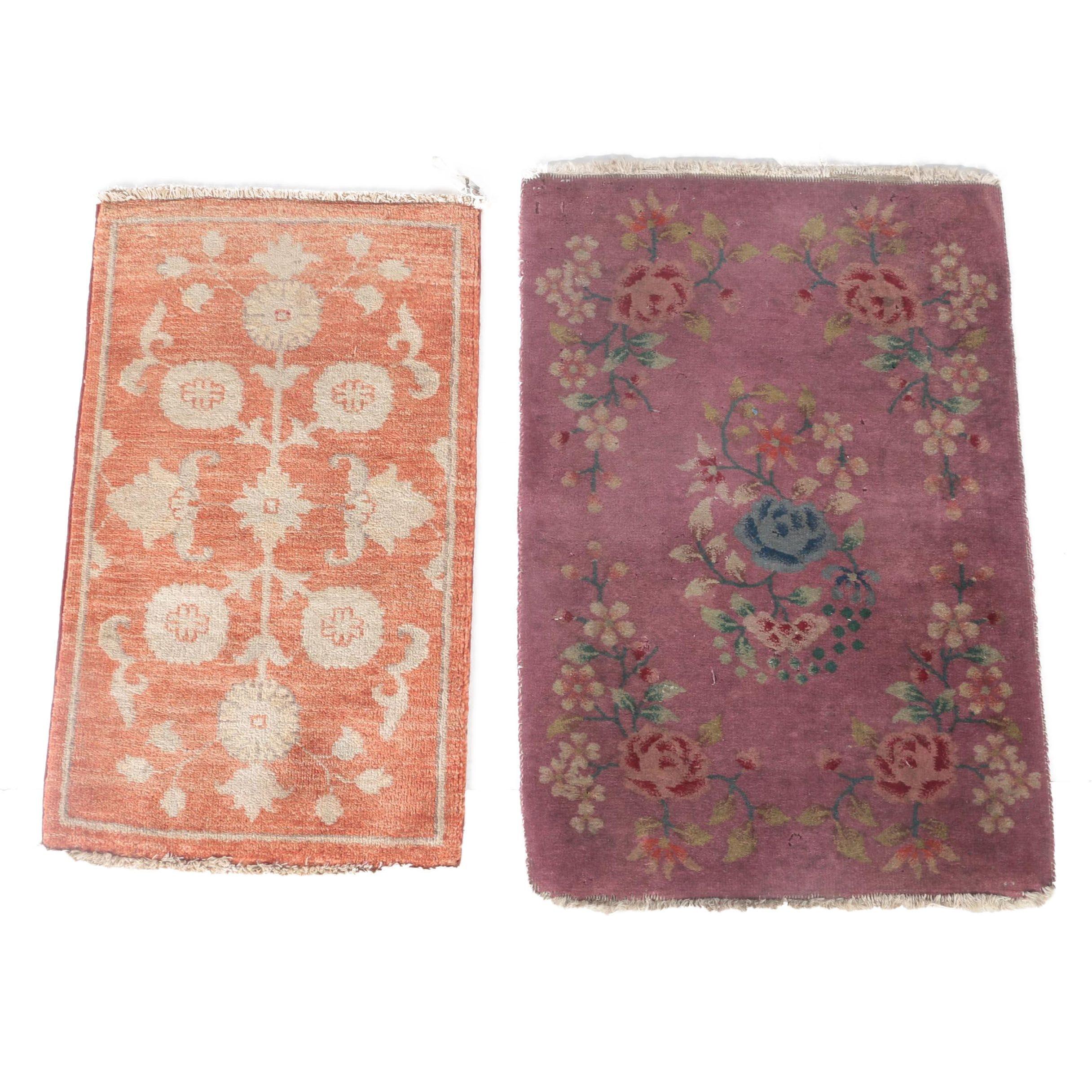 Hand-Knotted Pakistani Chobi and Chinese Wool Mats