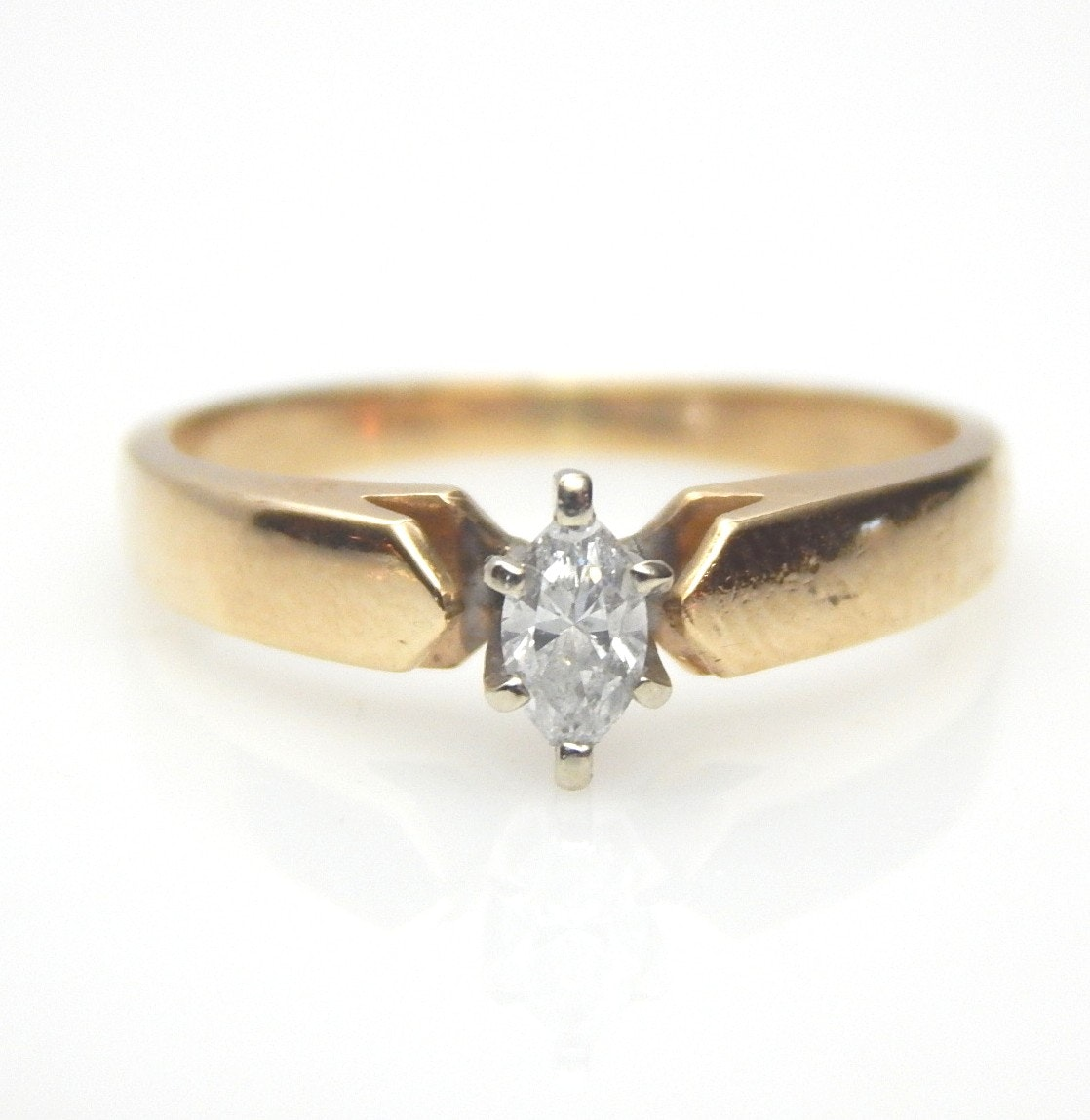 10K Yellow Gold Marquise Diamond Solitaire Ring