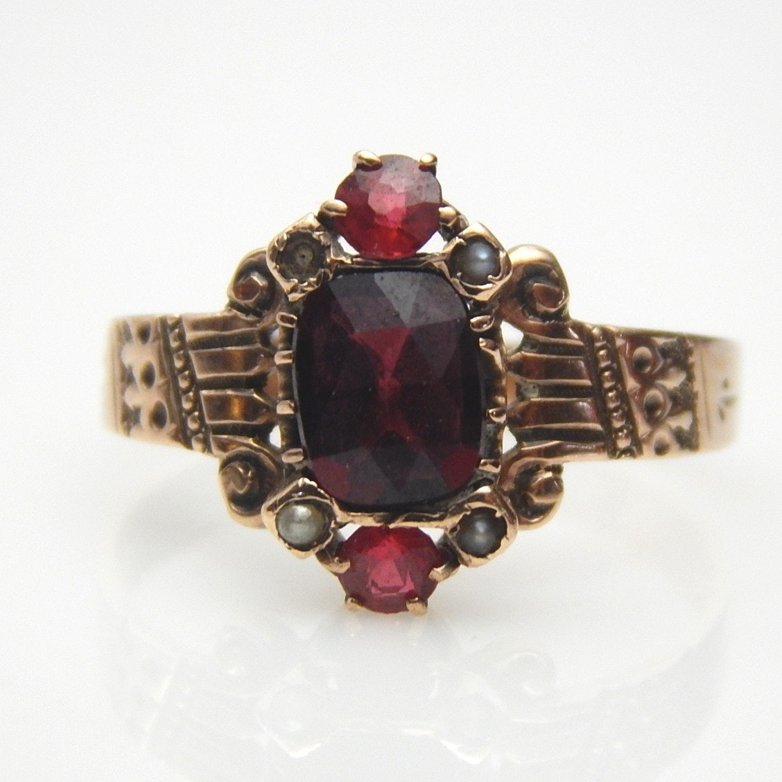 9K Rose Gold Victorian Garnet, Glass, and Seed Pearl Ring