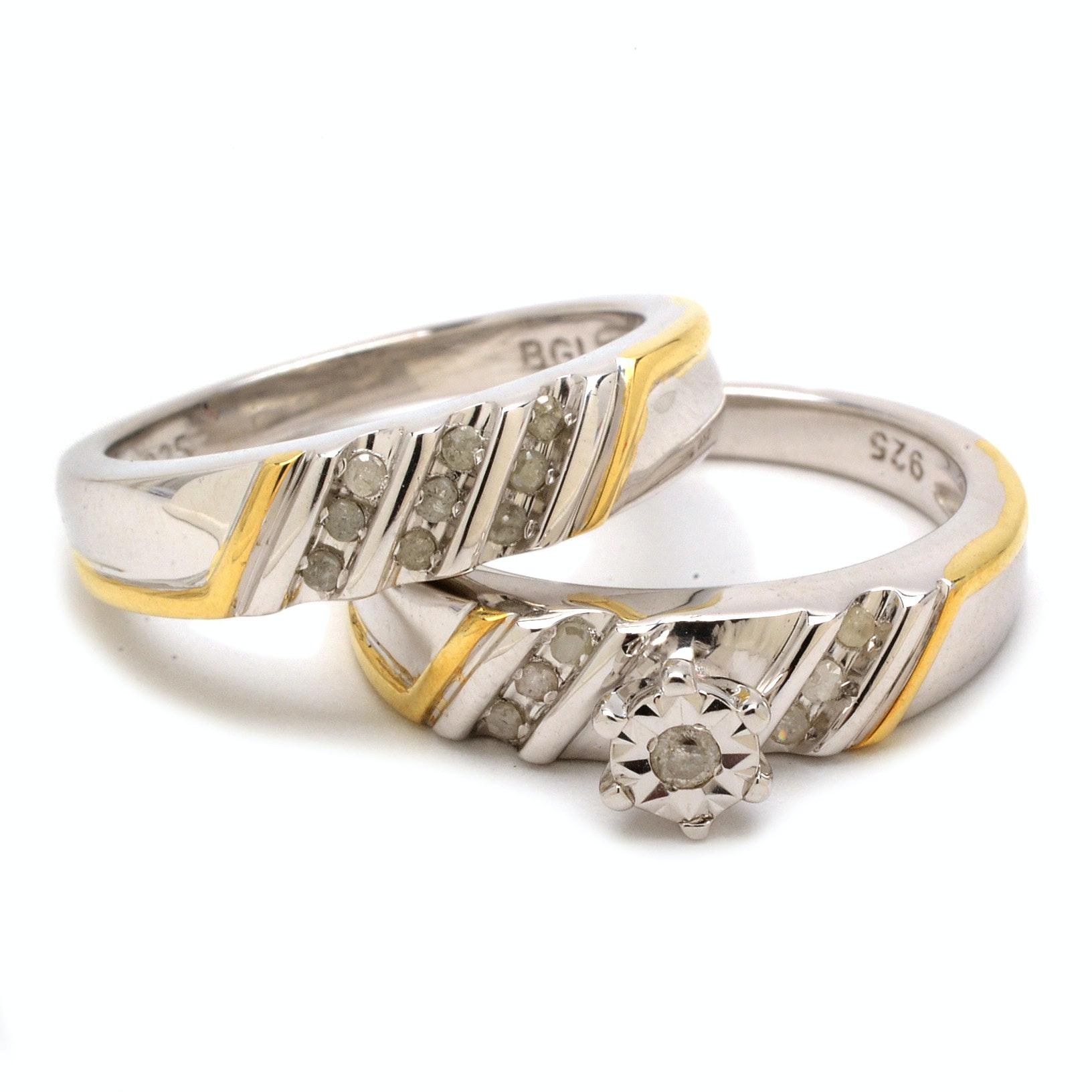 Sterling Silver Diamond Wedding Ring Set