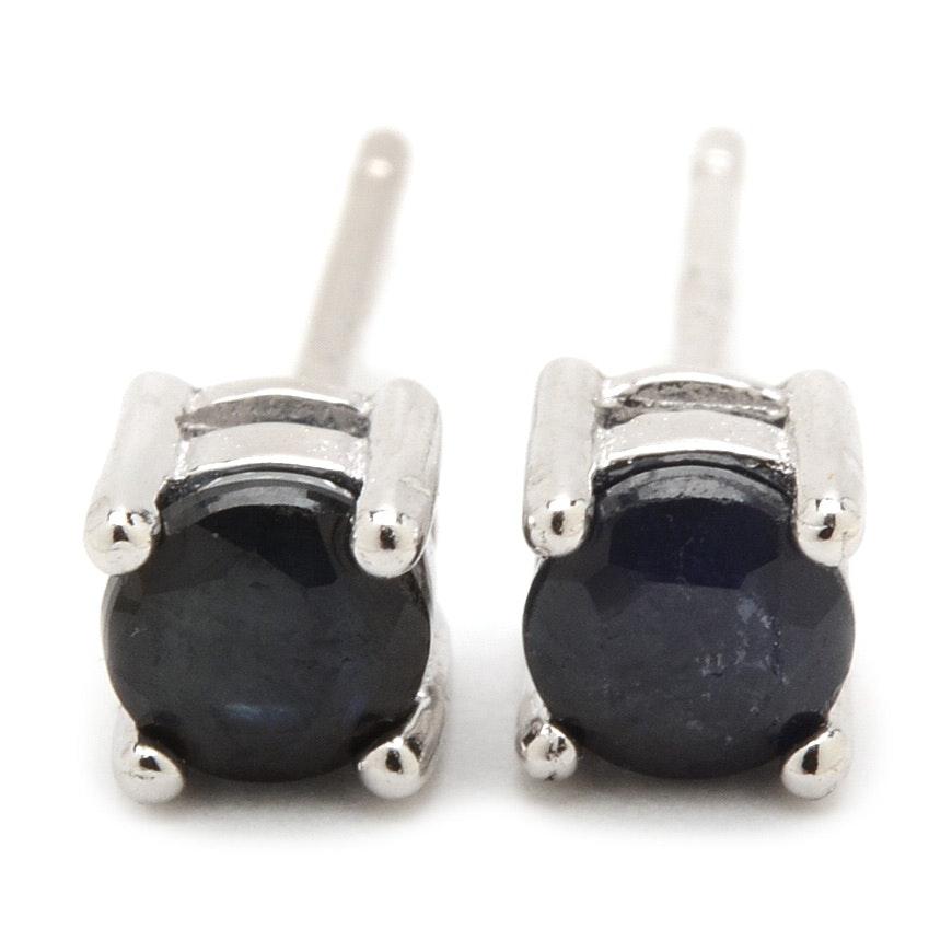 Sterling Silver Blue Sapphire Earrings