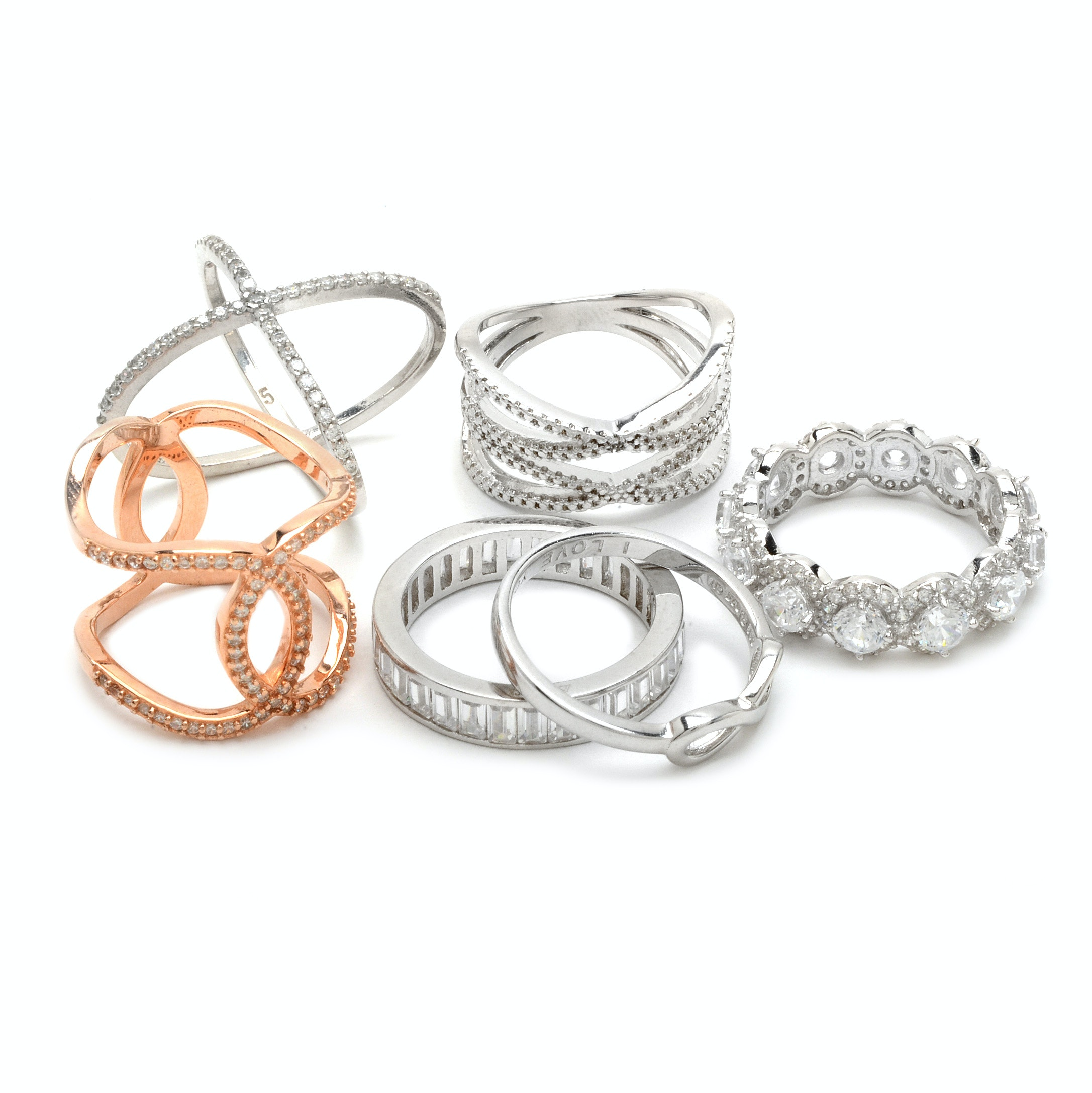 Sterling Silver Fashion Rings Including Cubic Zirconia