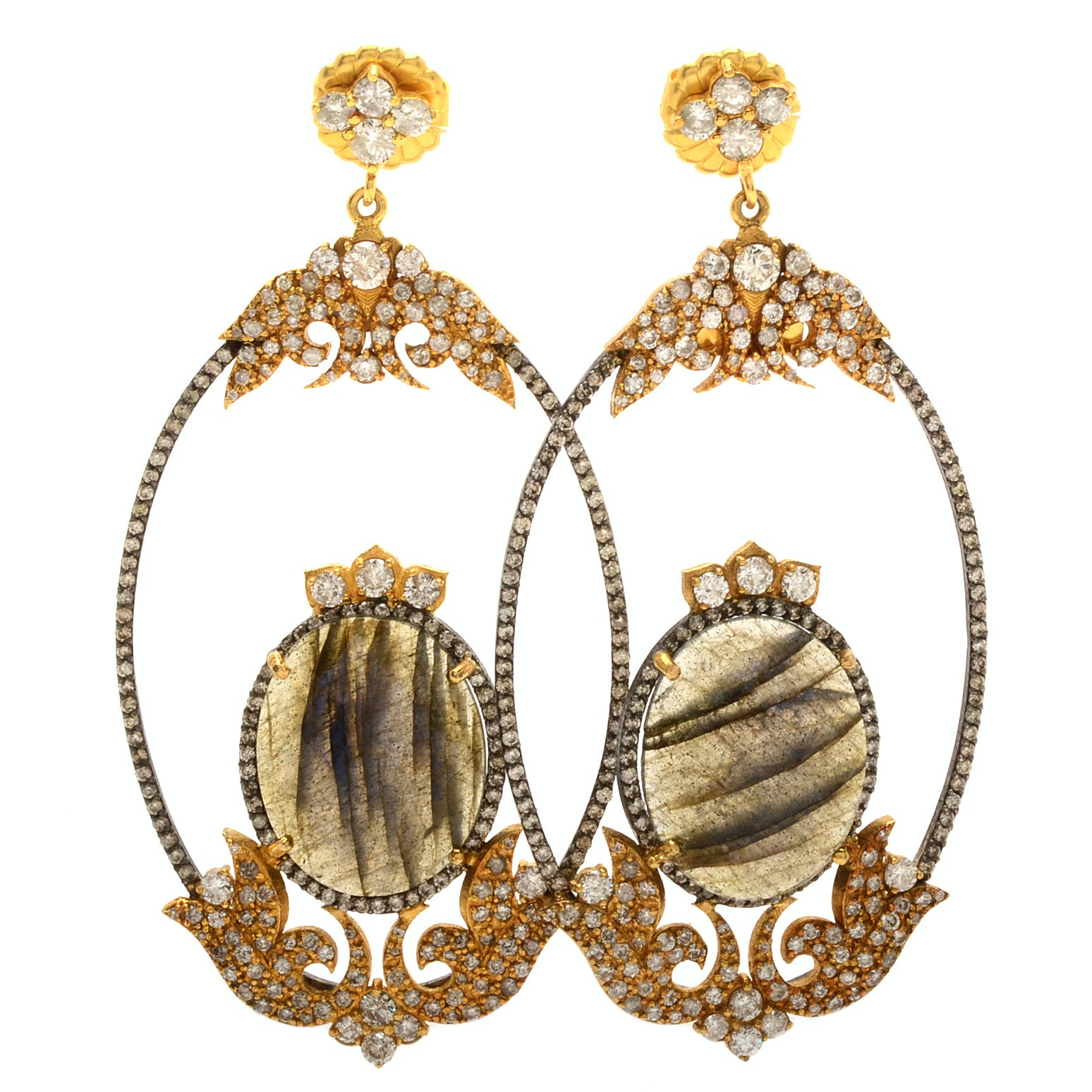 Sara Weinstock 18K Yellow Gold 5.67 CTW Diamond and Labradorite Earrings