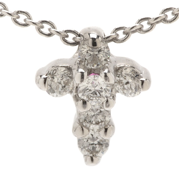 Roberto Coin 18K White Gold Diamond Natural Ruby Miniature Cross Necklace