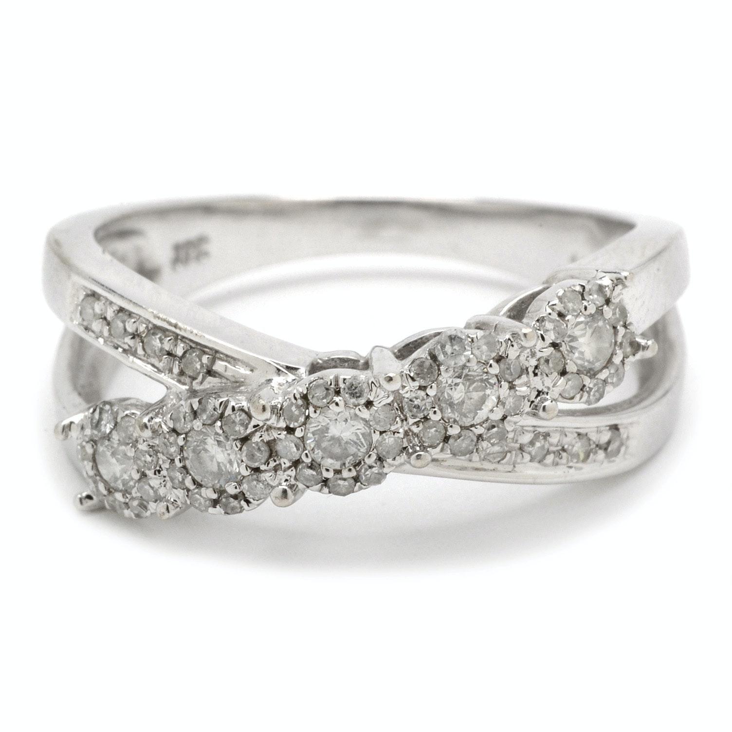 10K White Gold Diamond Criss Cross Ring