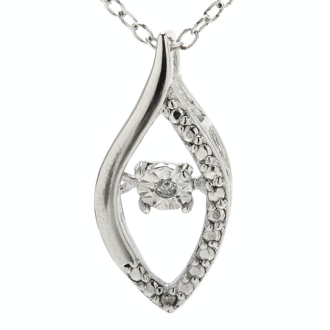 Sterling Silver Floating Diamond Pendant Necklace