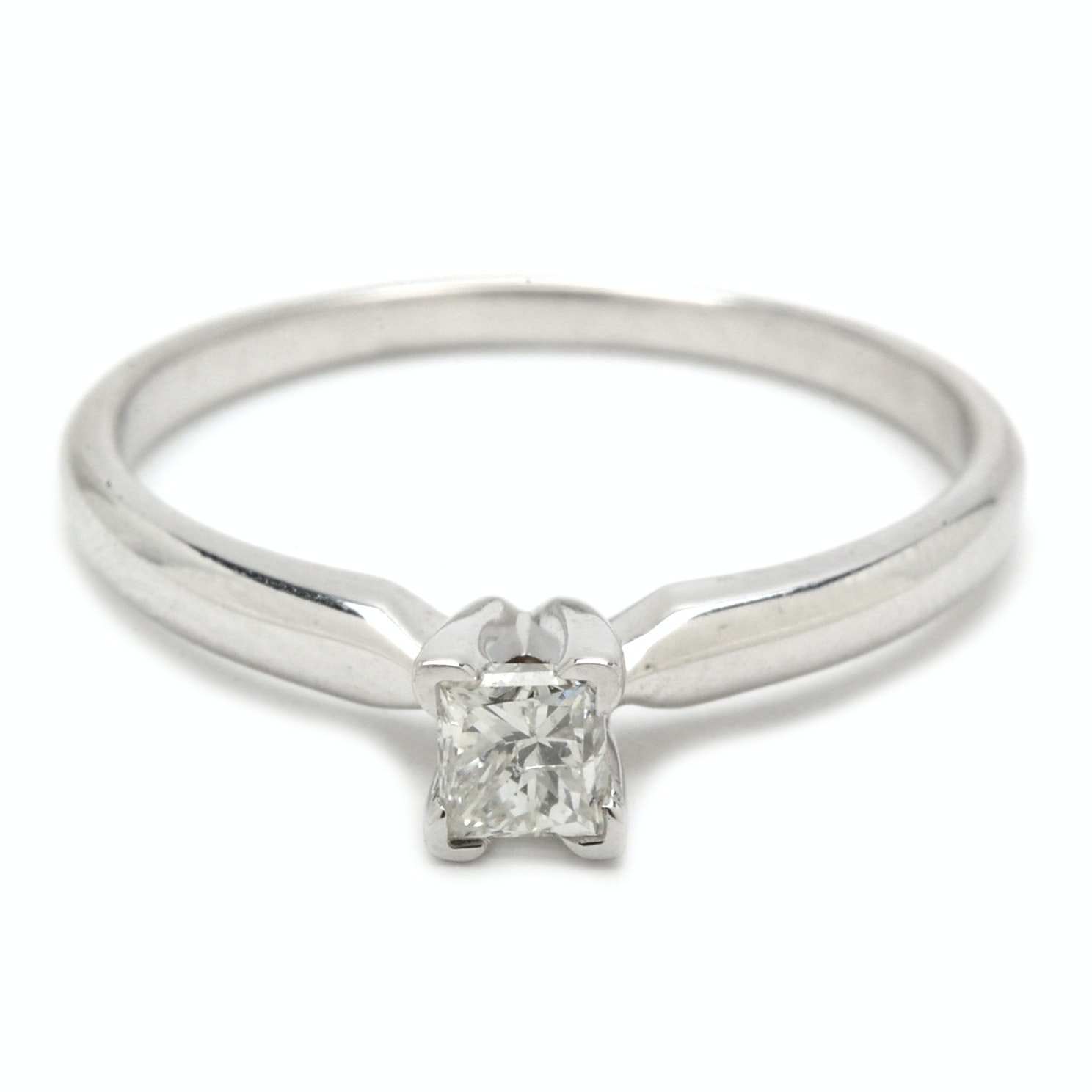 14K White Gold Princess Cut Diamond Solitaire Ring