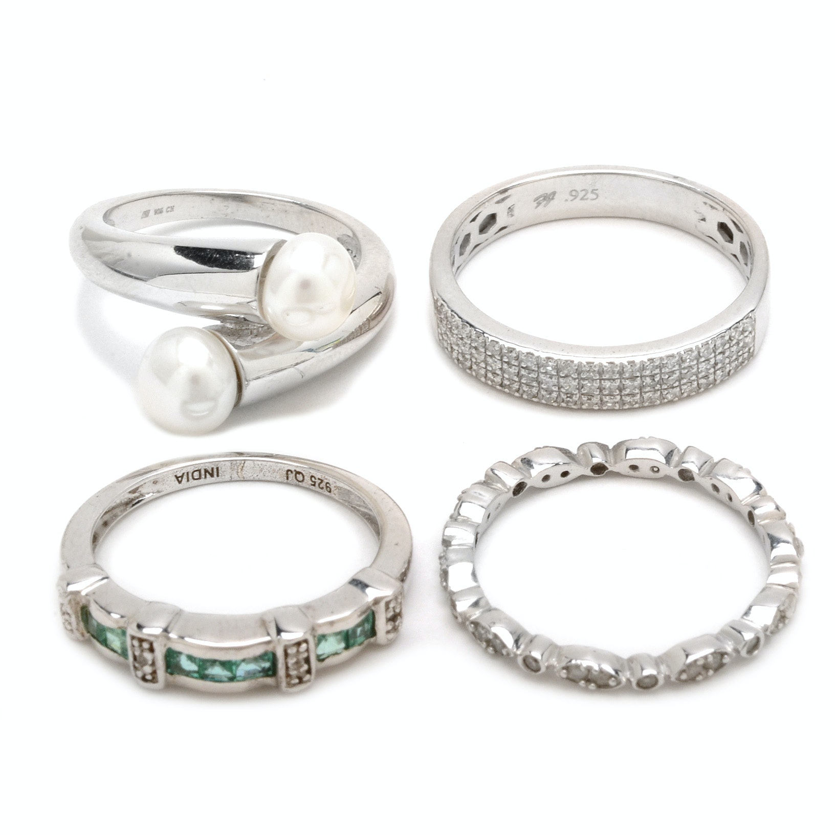 Sterling Silver Diamond and Gemstone Rings