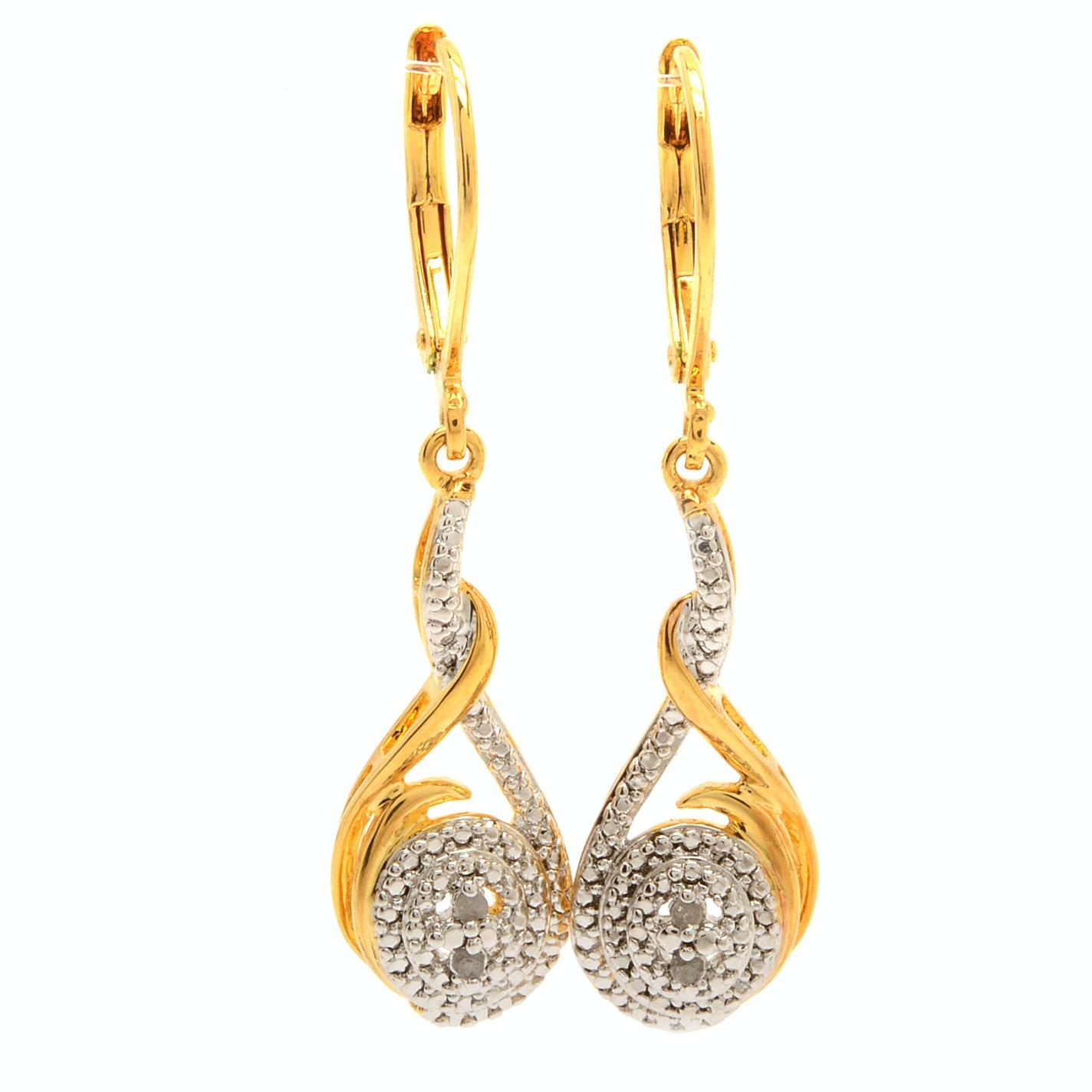 Gold Tone Diamond Fashion Earrings