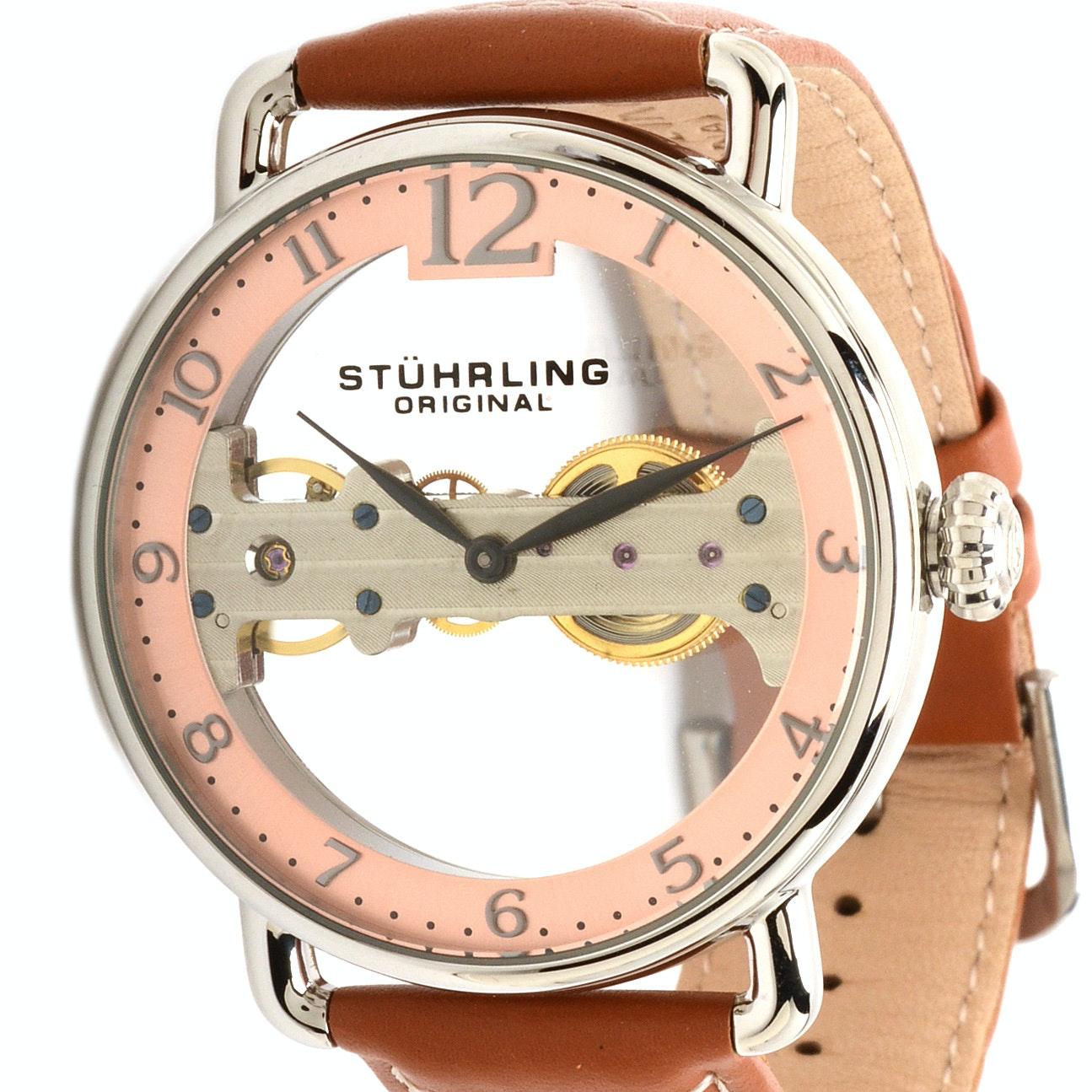 Stührling Original Pink Bridge See-Thru Automatic Wristwatch