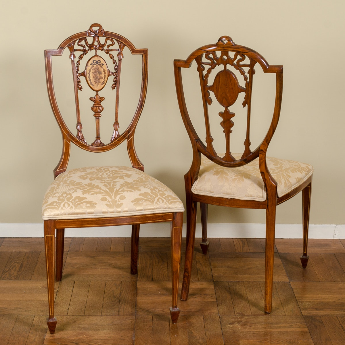 Vintage Hepplewhite Style Shield Back Side Chairs