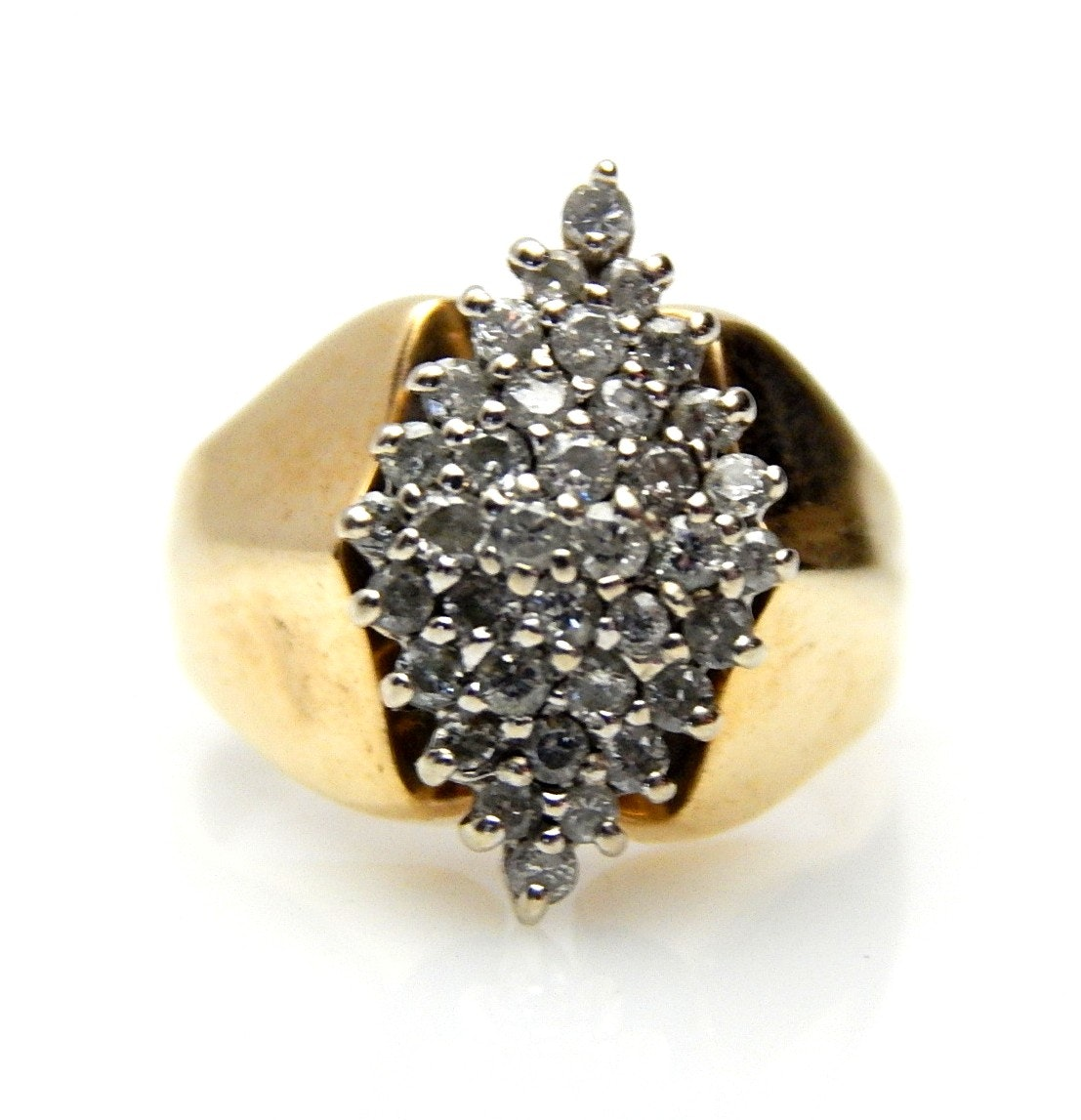 14K Yellow Gold 0.52 CTW Diamond Cluster Ring